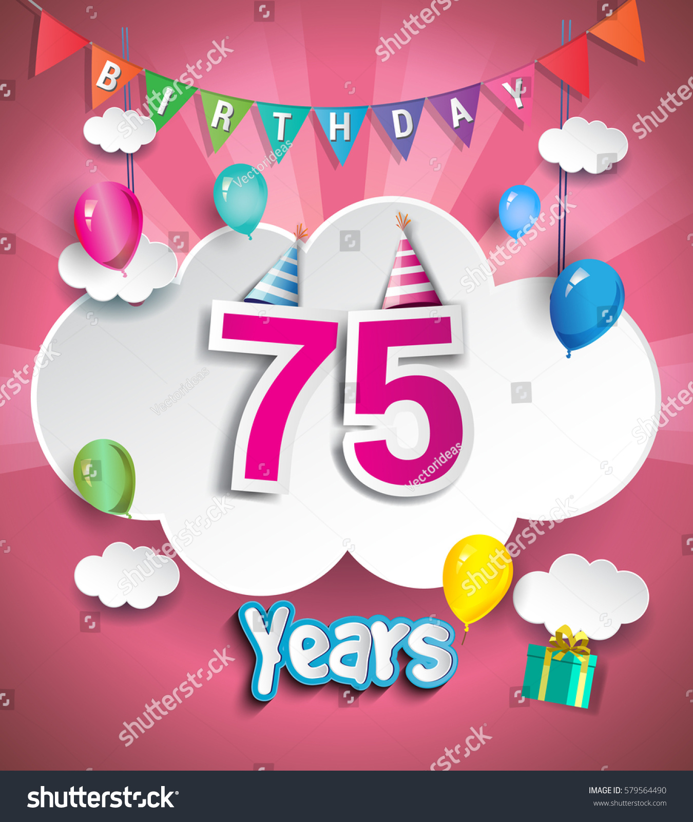 75 Years Birthday Design Greeting Cards Stock Vector Royalty Free