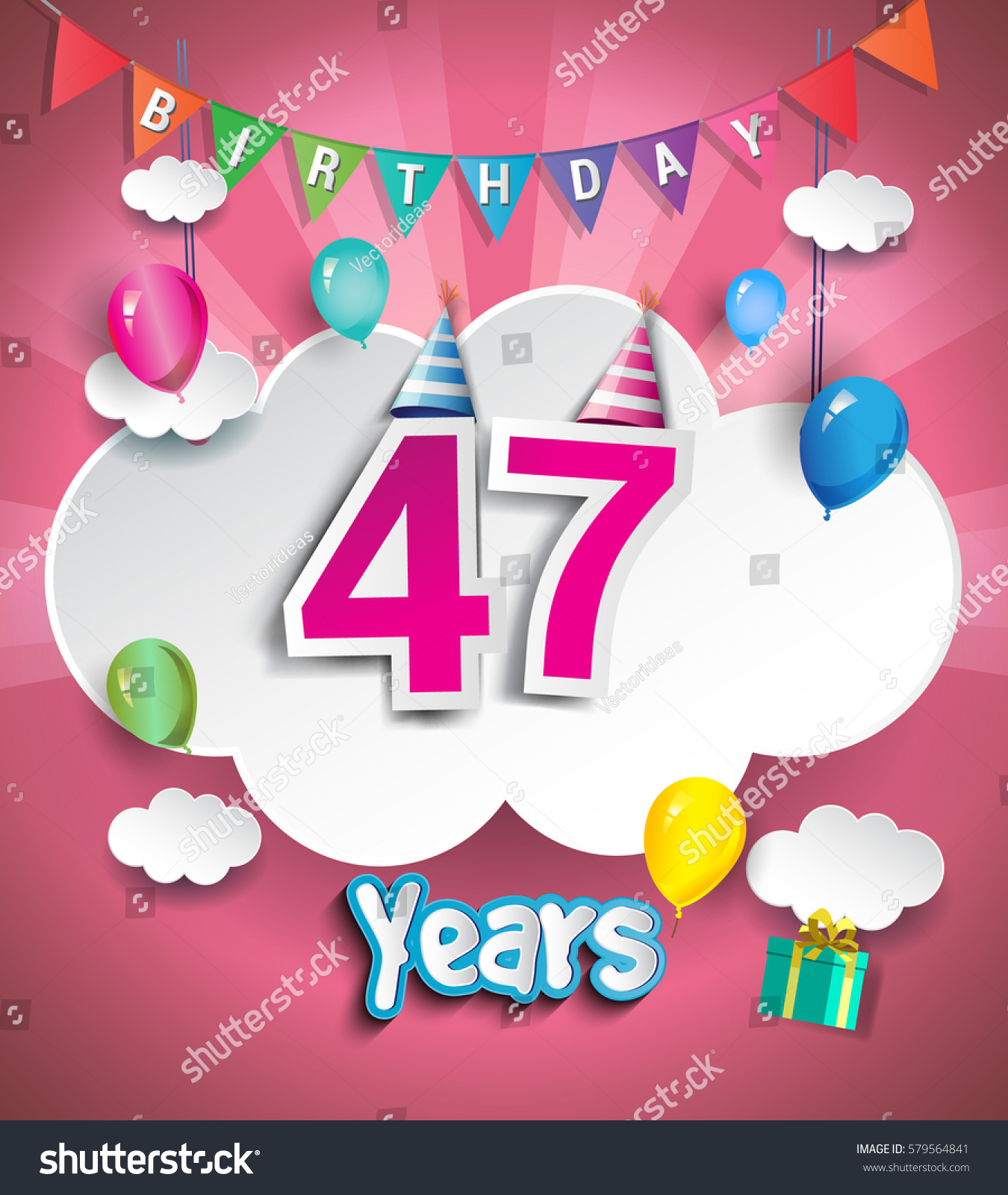 47 Years Birthday Design Greeting Cards Stock Vector 579564841