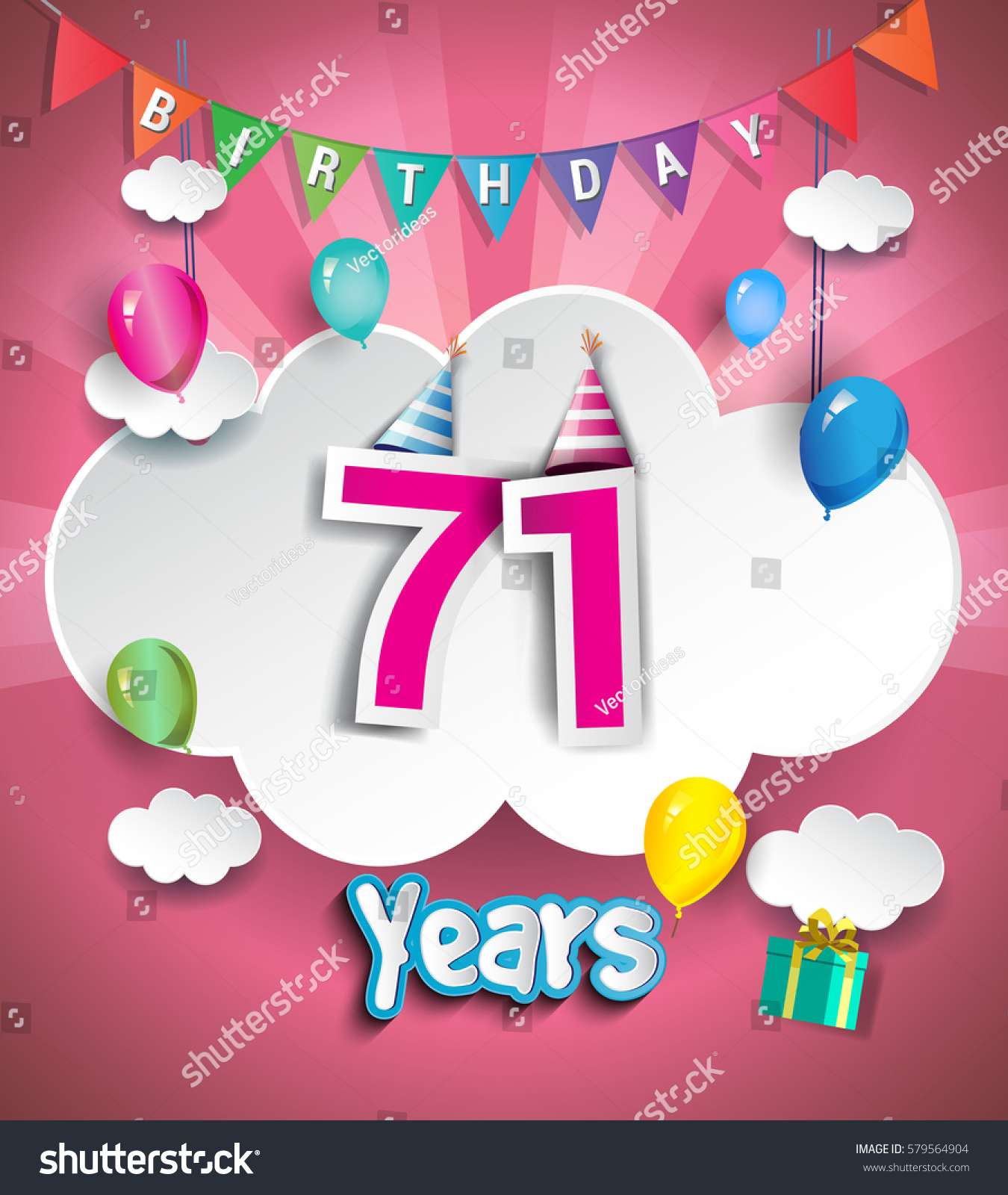 71 Years Birthday Design Greeting Cards Stock Vector Royalty Free