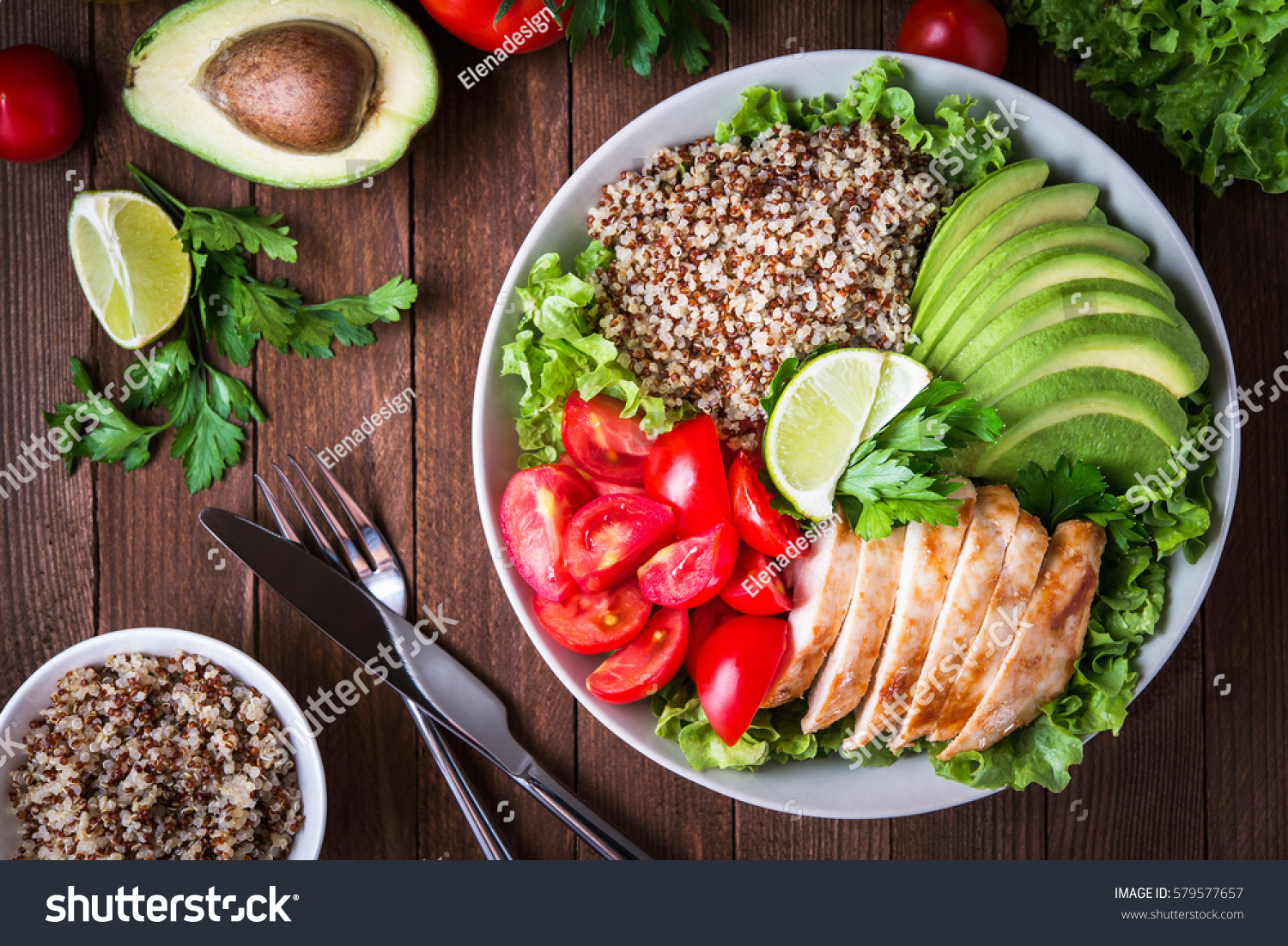 healthy salad plate quinoa cherry tomatoes stock photo 579577657 shutterstock. Black Bedroom Furniture Sets. Home Design Ideas