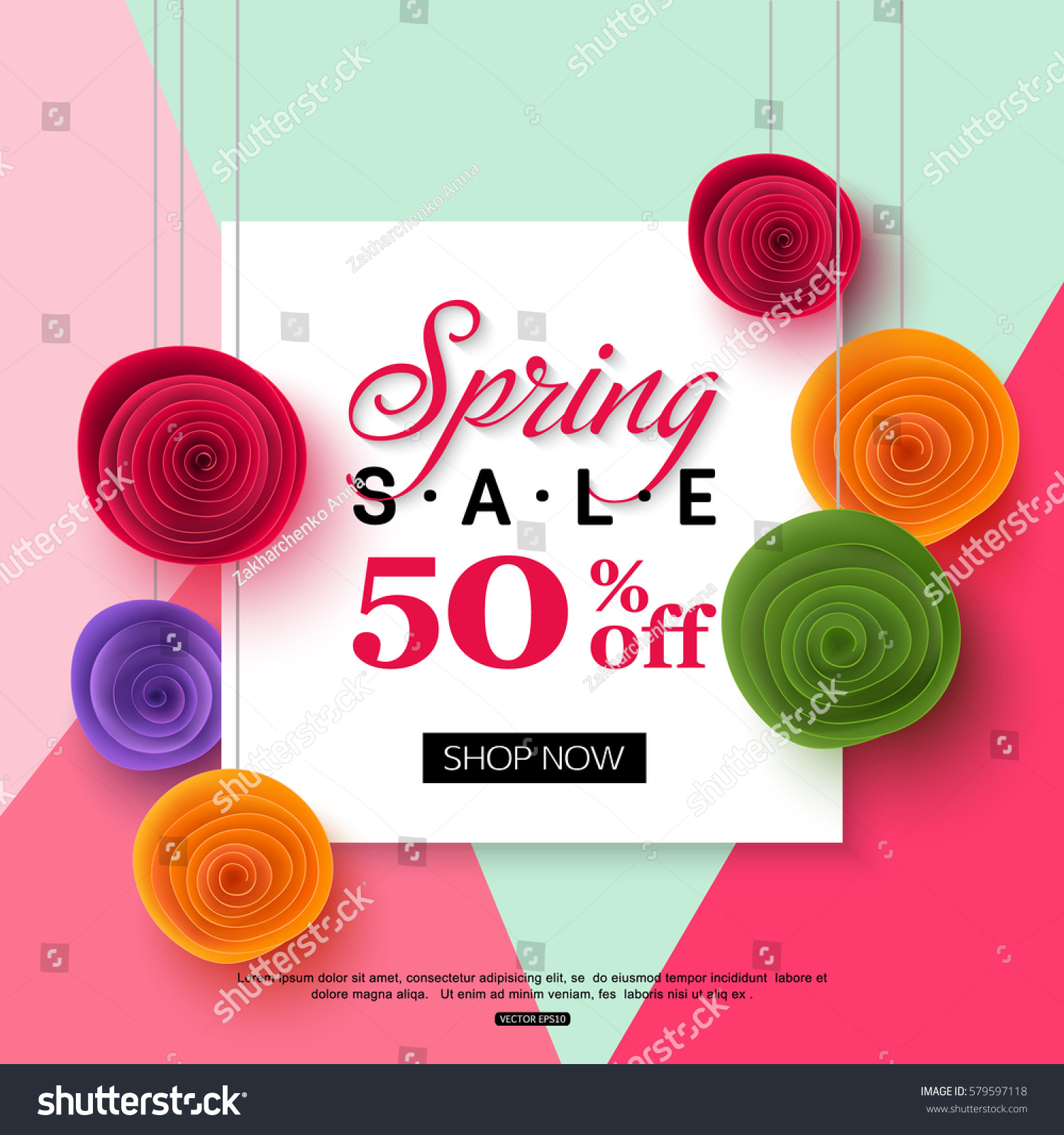 spring sale banner template paper flower stock vector 579597118 shutterstock. Black Bedroom Furniture Sets. Home Design Ideas