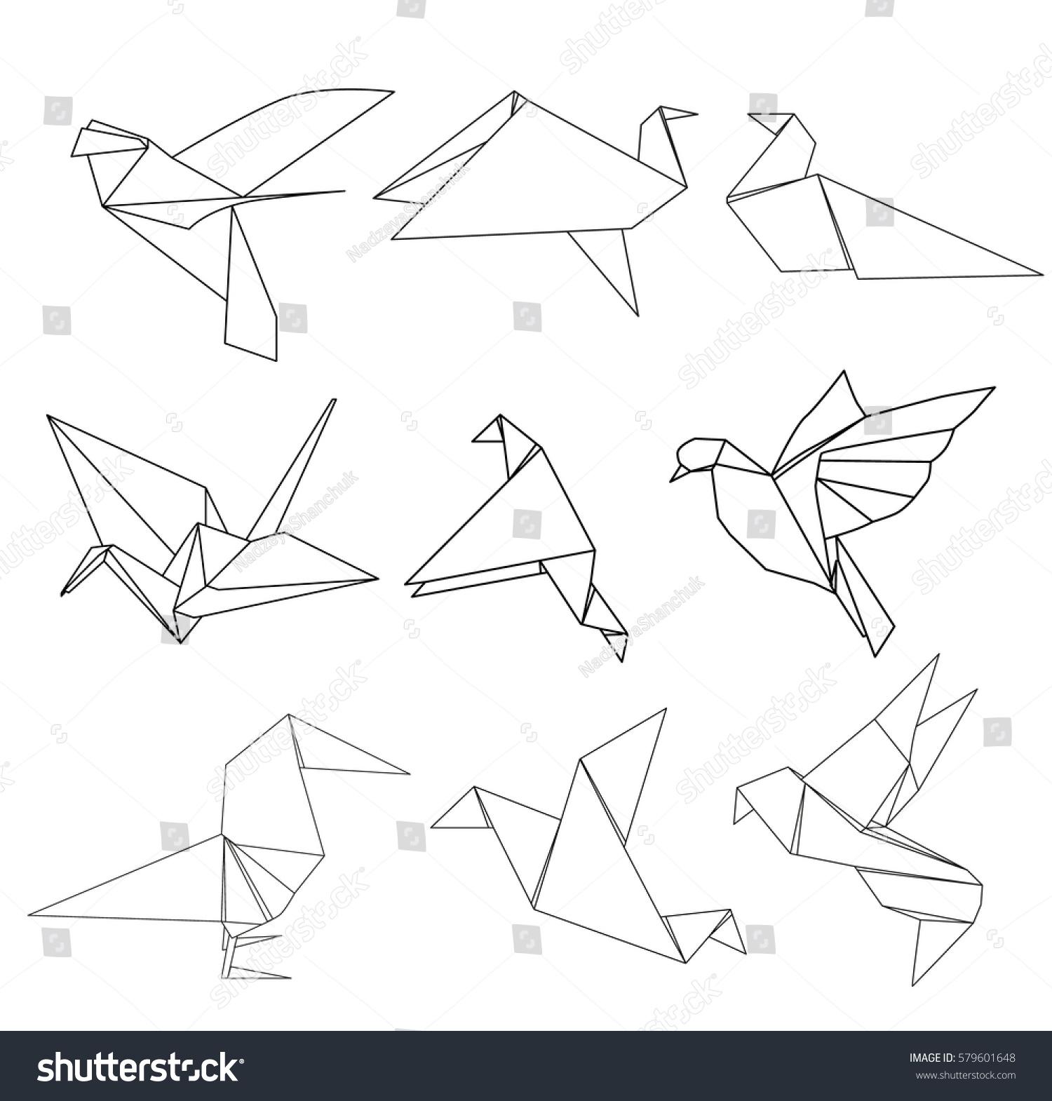 Vector Paper Origami Bird Outline Collection Stock Vector Royalty