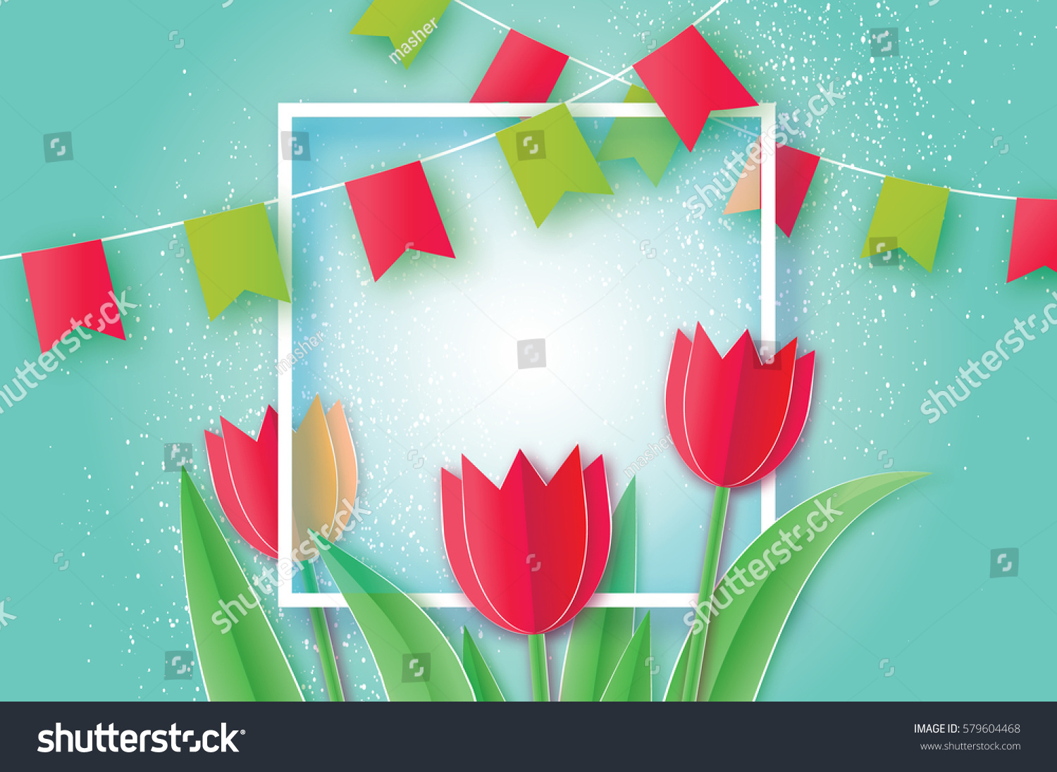 Red Tulip Paper Cut Flower 8 Stock Vector Royalty Free 579604468