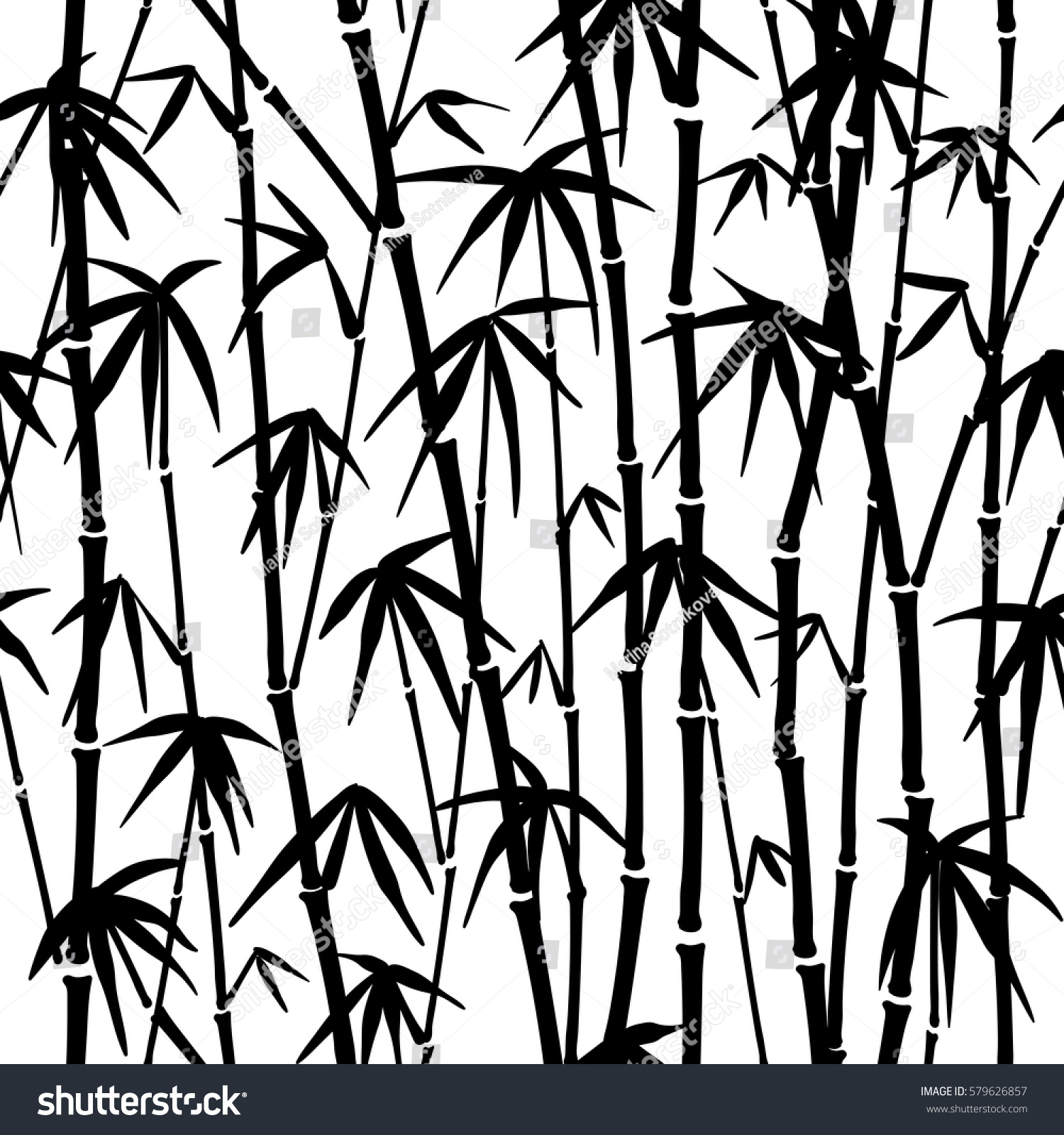 Seamless Pattern Black White Bamboo Stalks Stock Vector ...