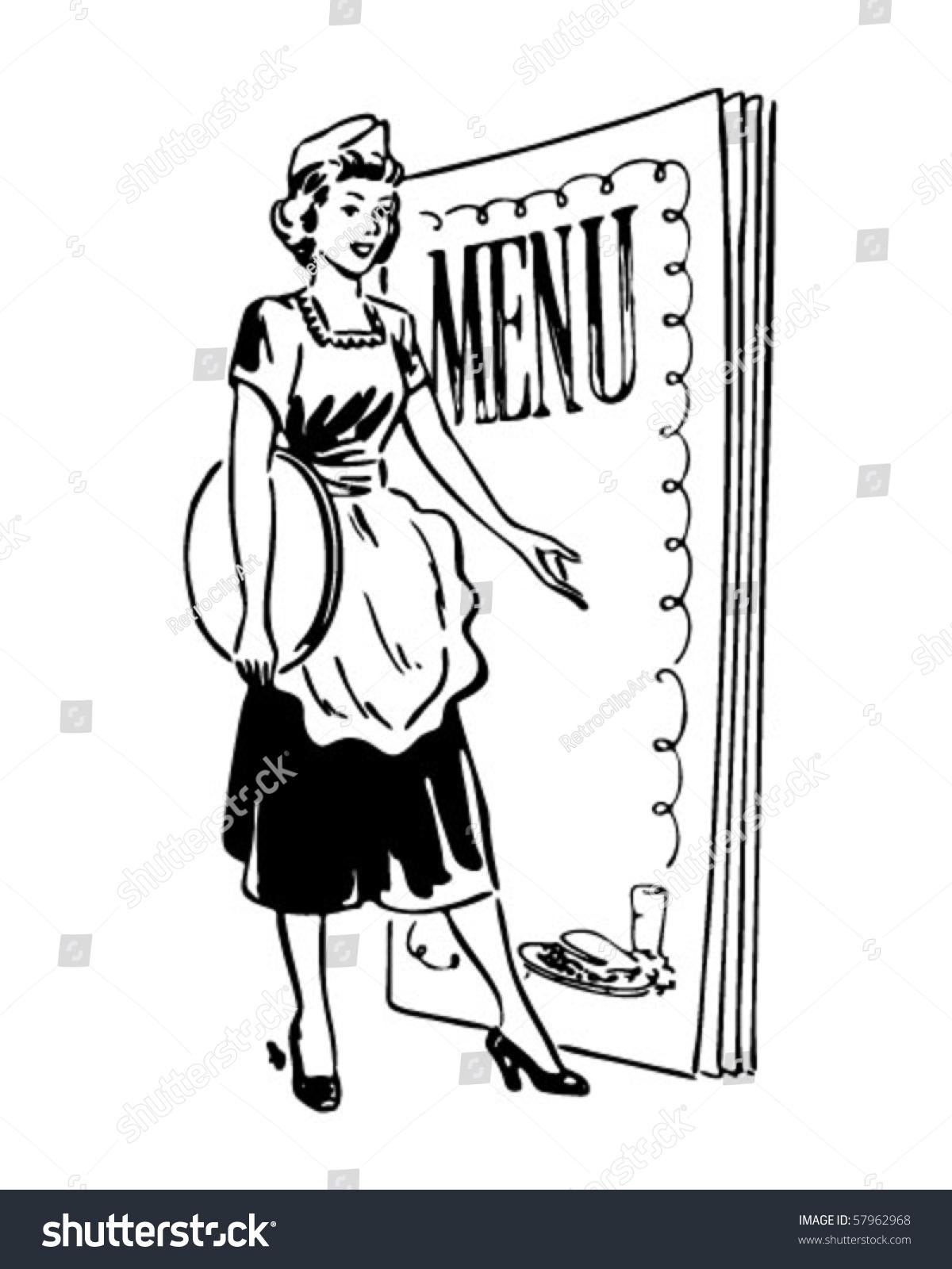 waitress menu behind retro clip art stock vector (royalty free
