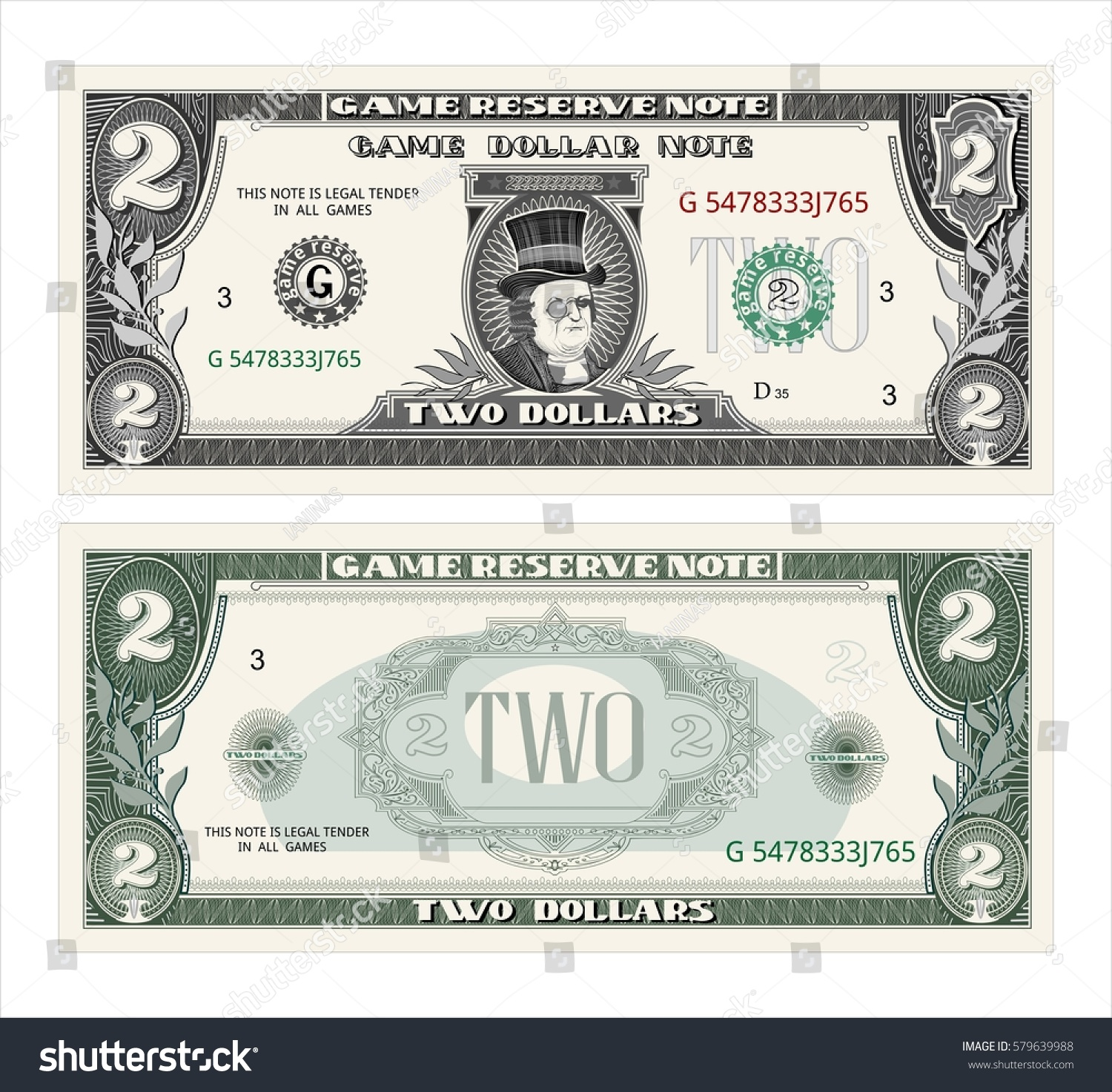 Money Note Game Cash Two Dollars Stock Vector Shutterstock