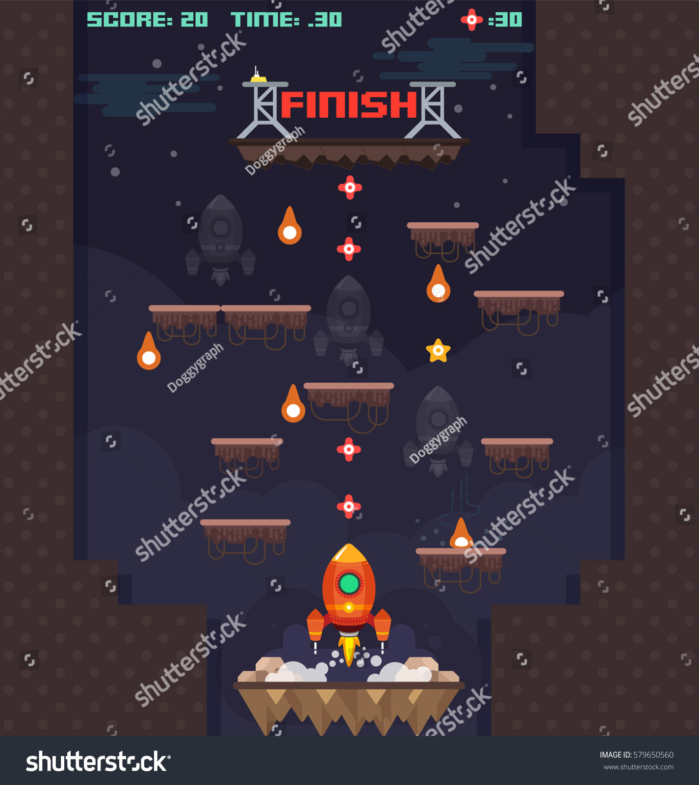 Spaceship Planets Game Design Elements Vector Stock Vector Royalty - Spaceship design game