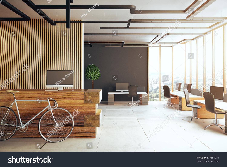 Creative Office Interior Bicycle Reception Desk Stock