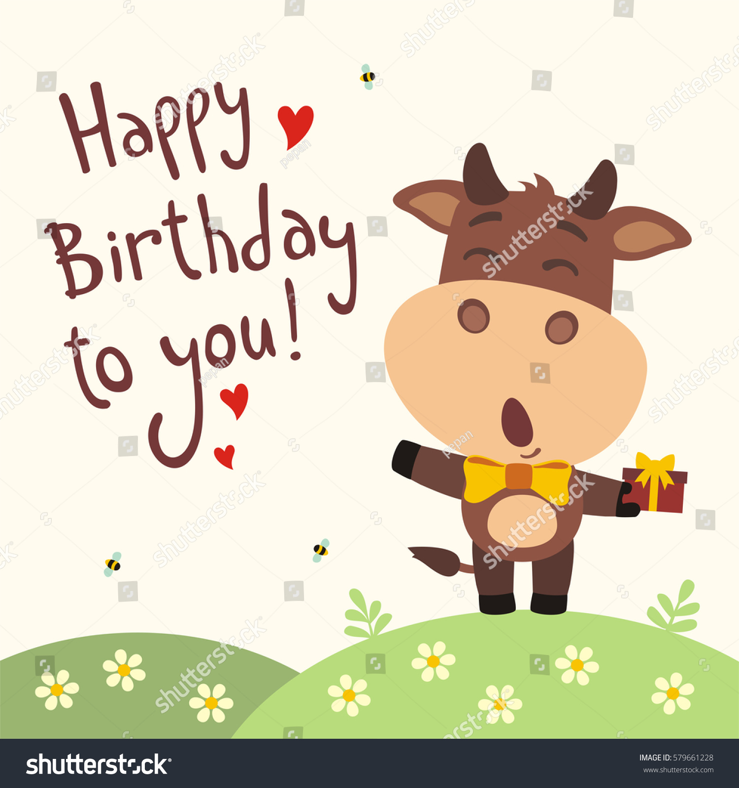 Funny cow sings song happy birthday stock vector royalty free funny cow sings song happy birthday to you greeting card in cartoon style m4hsunfo