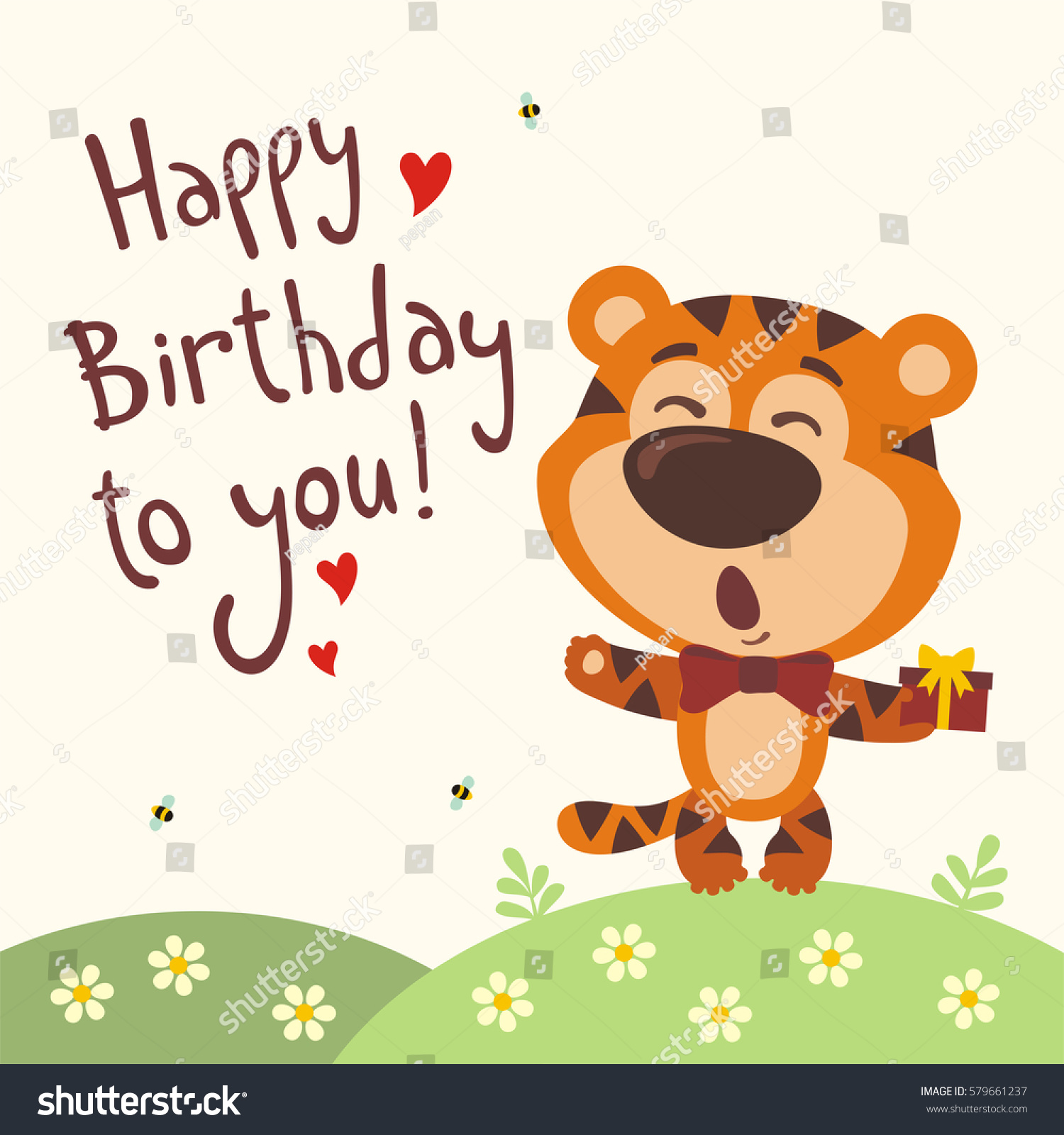 Funny tiger sings song happy birthday stock vector royalty free funny tiger sings song happy birthday to you greeting card in cartoon style m4hsunfo