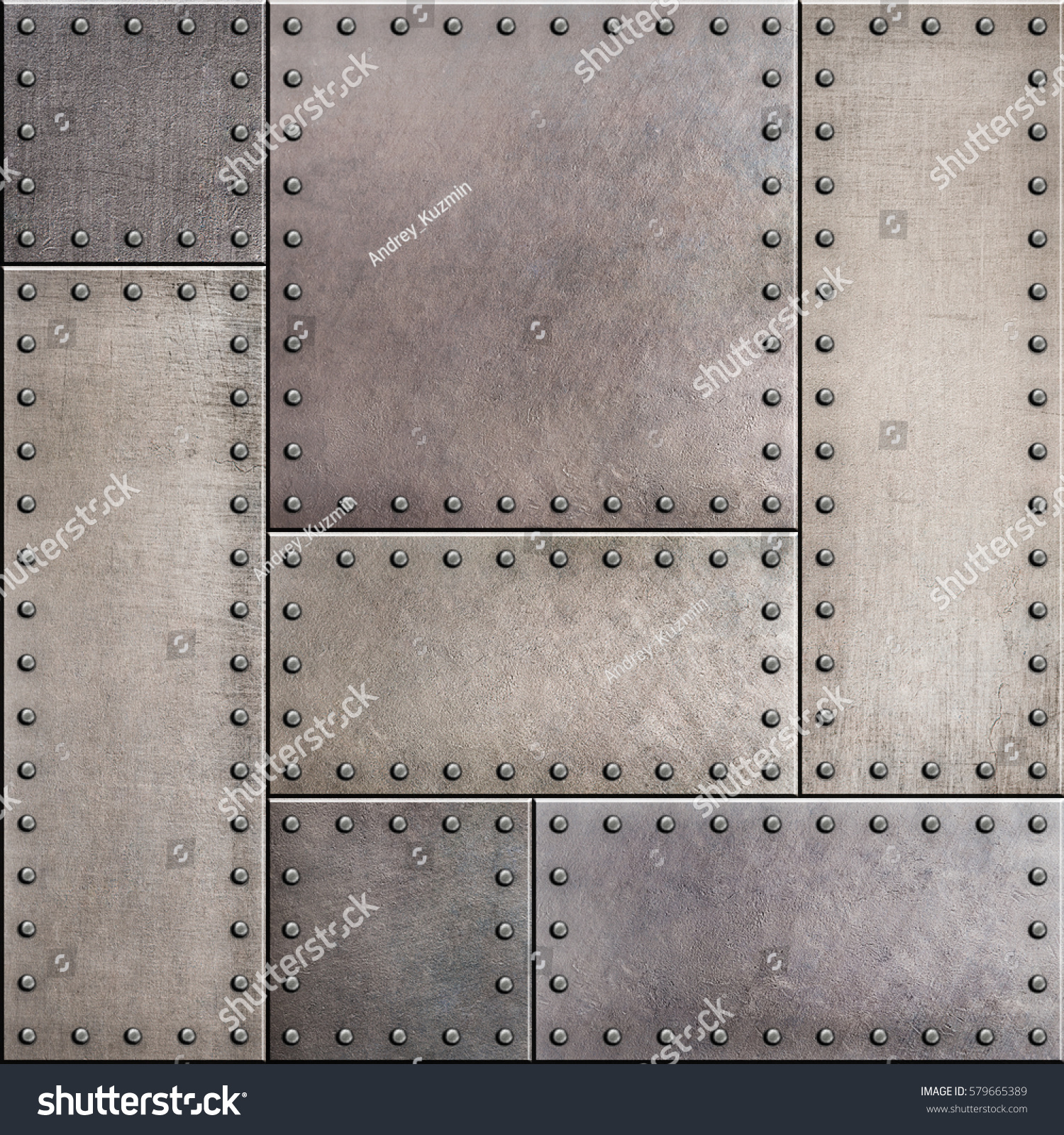 Stained Metal Plates Rivets Seamless Background Stock
