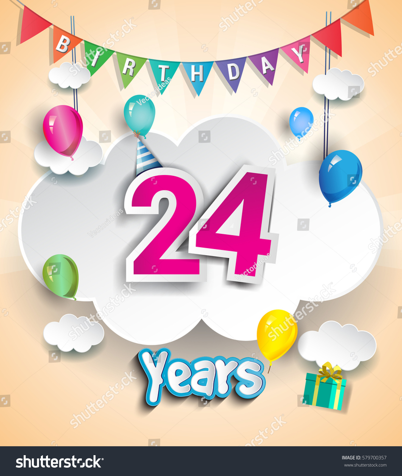 24 Years Birthday Design Greeting Cards Stock Vector Royalty Free