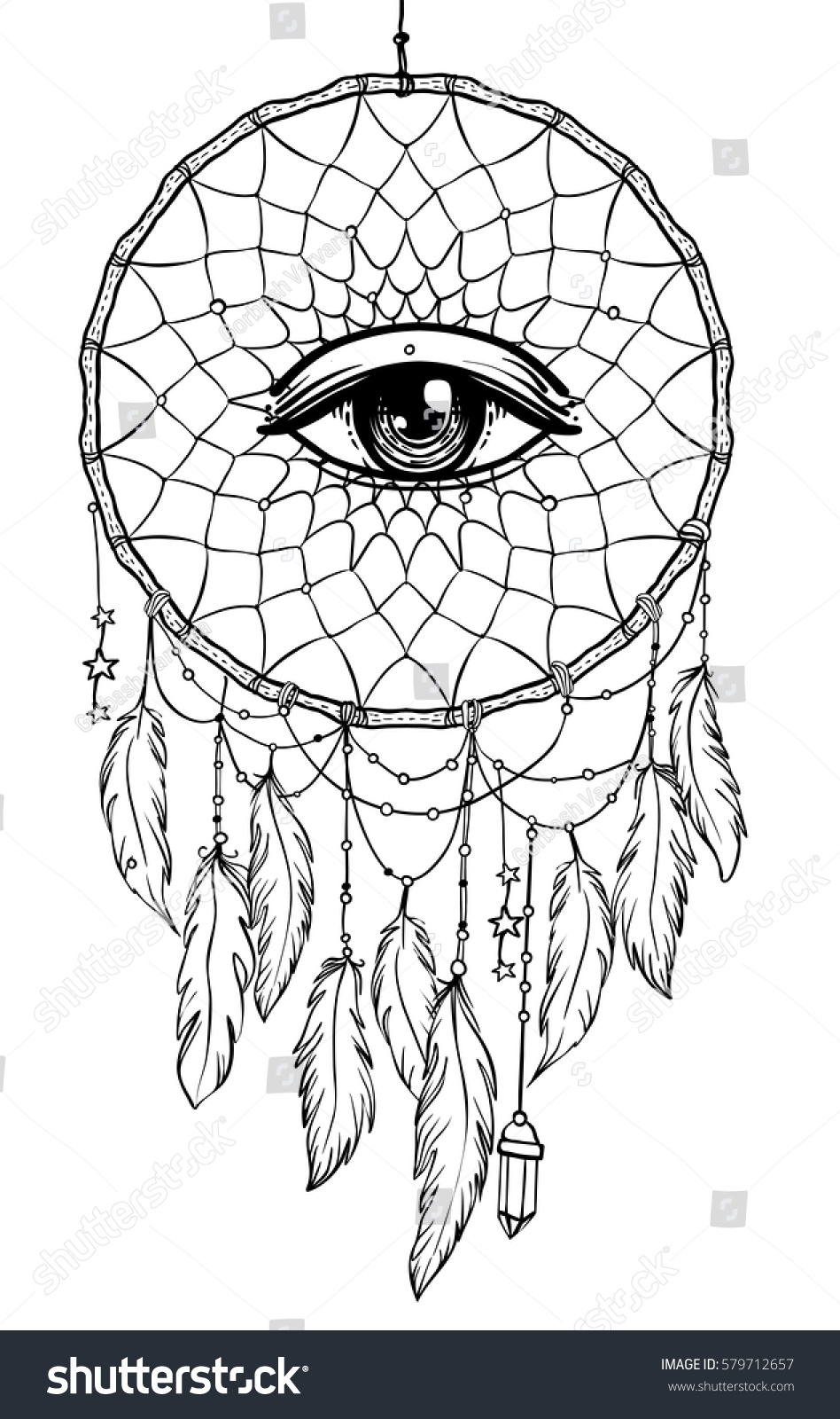 hand drawn native american indian talisman stock vector 579712657