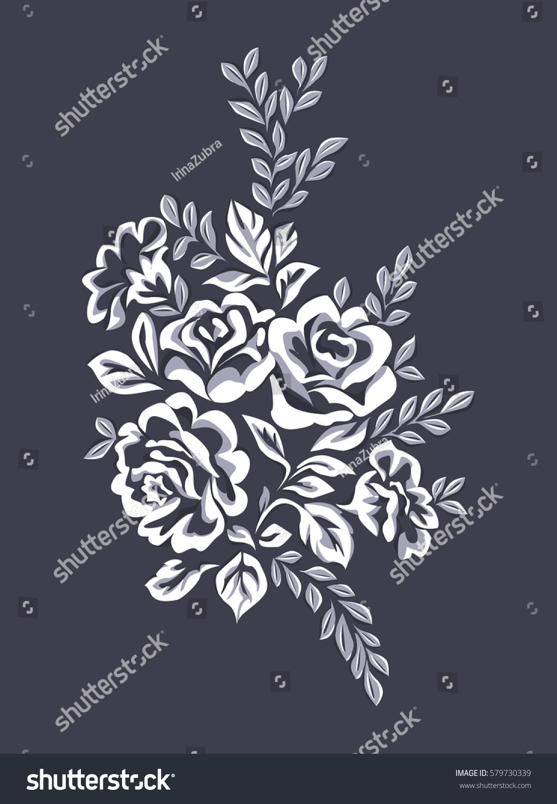 Decorative Branch Leaves Roses Bouquet Flowers Stock Illustration