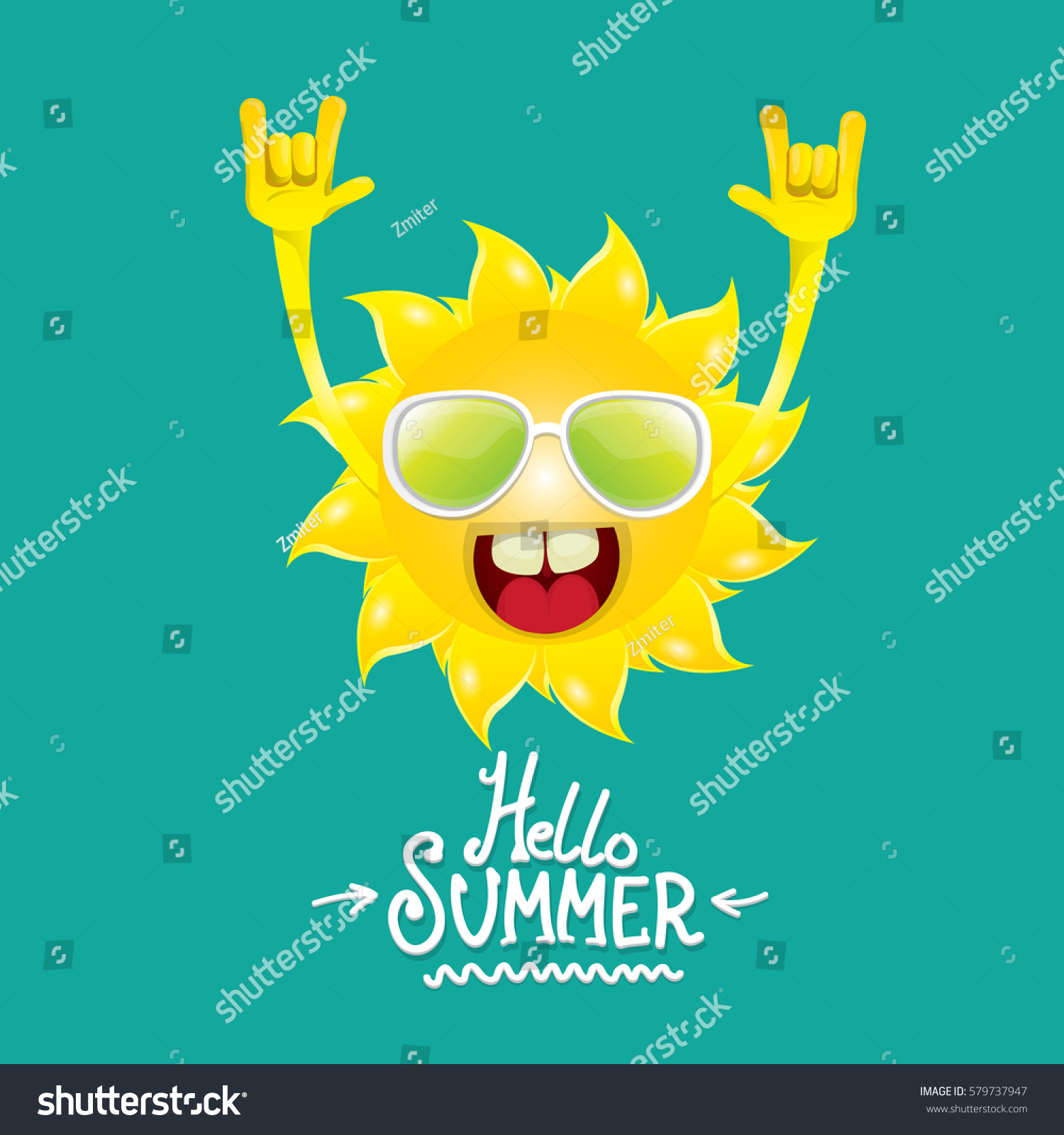 Rock n roll poster design - Hello Summer Rock N Roll Vector Poster Summer Party Background With Funky Sun Character Design