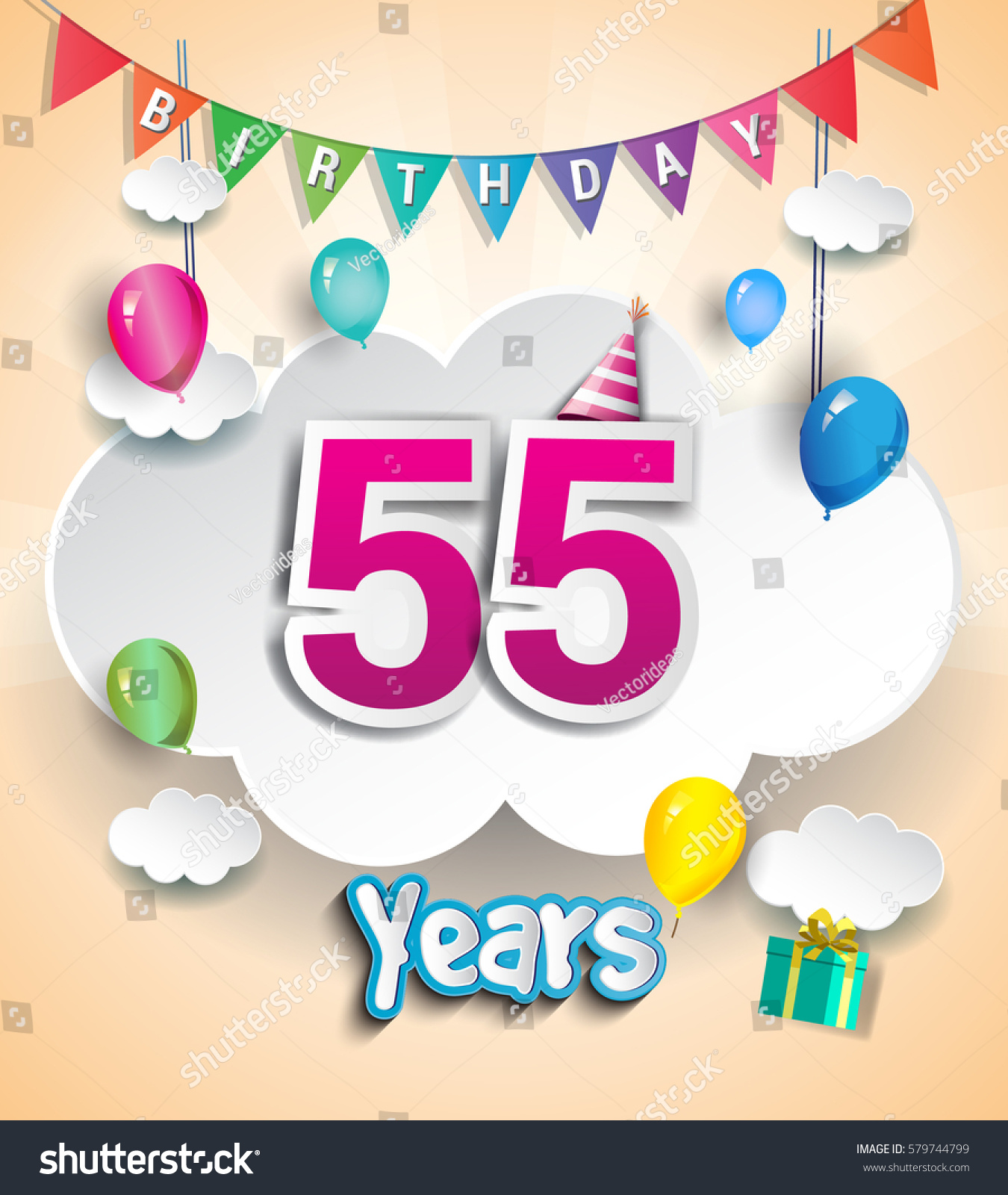 55 Years Birthday Design For Greeting Cards And Poster With Clouds Gift Box