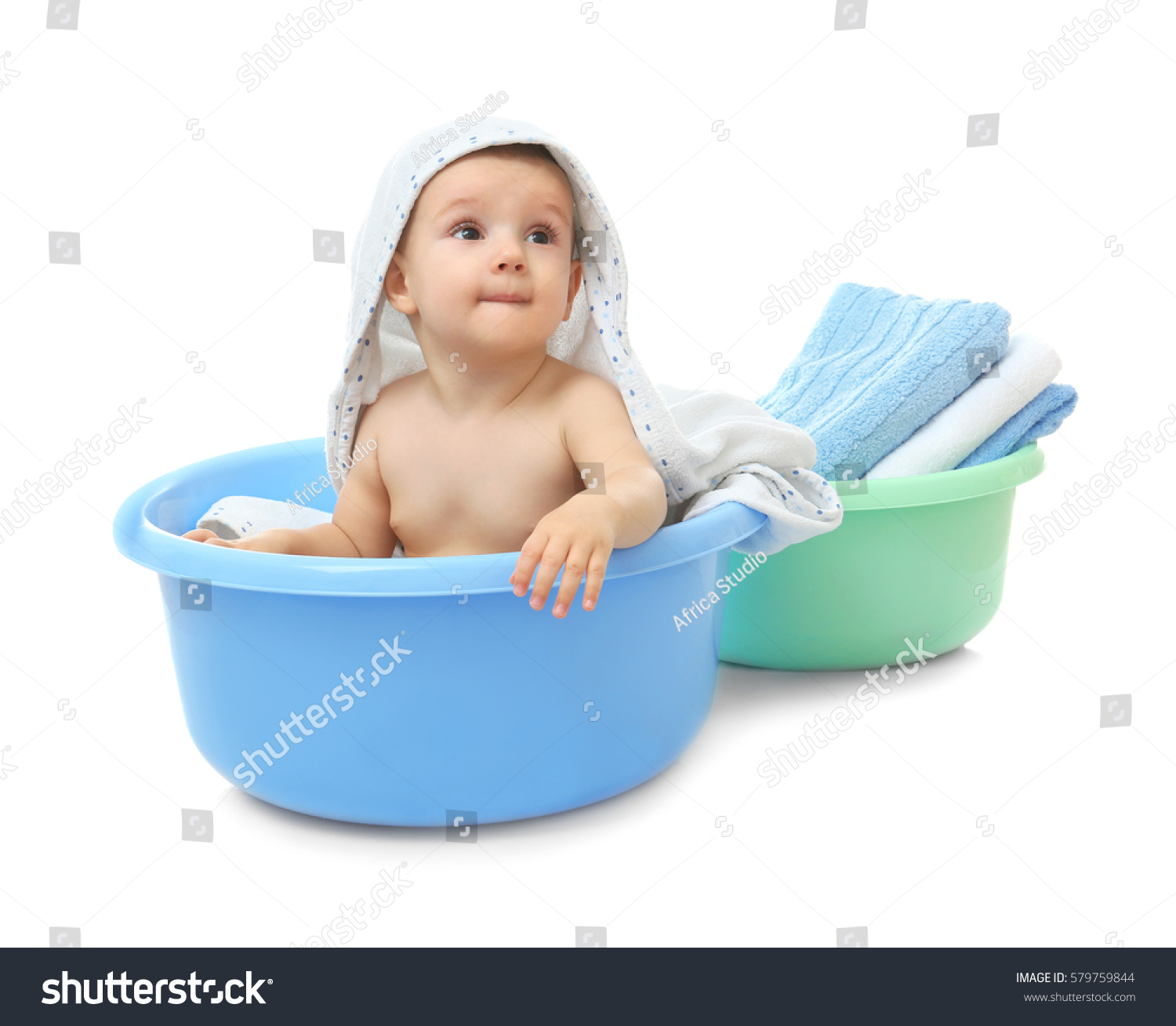 Little Baby Boy Washing Bath On Stock Photo (100% Legal Protection ...