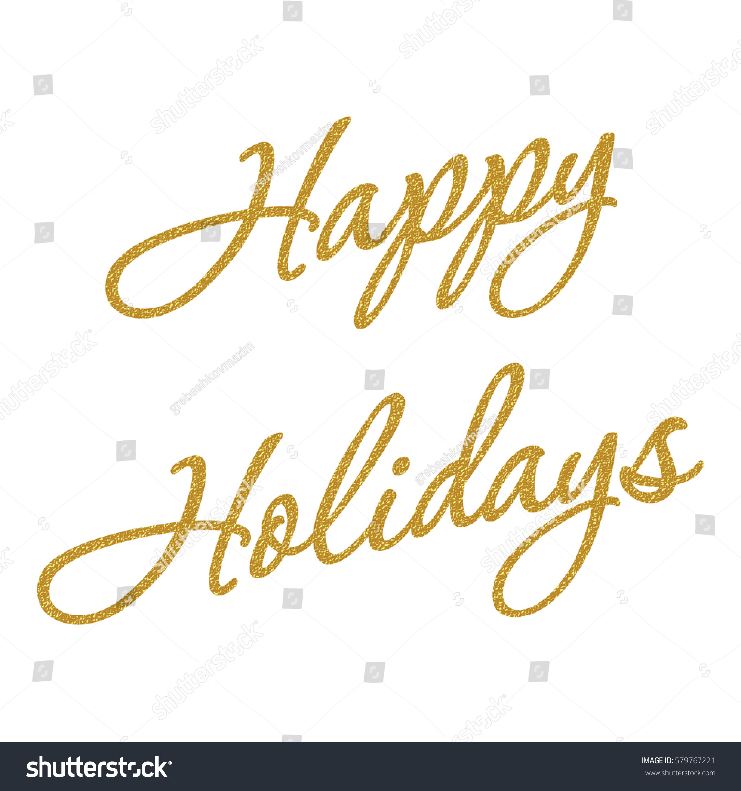 Happy Holidays Golden Glitter Effect Isolated Stock Vector