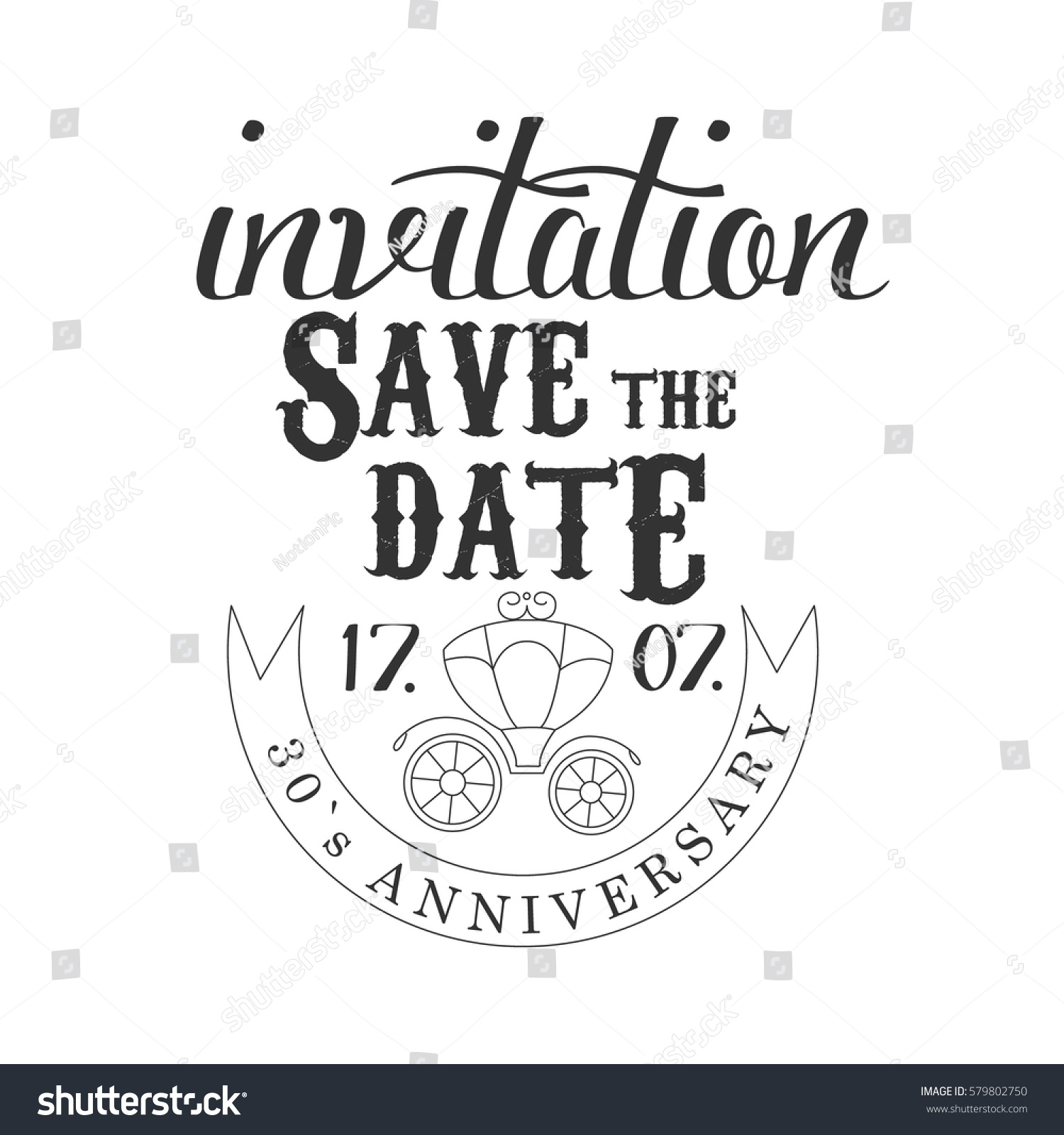 Anniversary party black white invitation card stock vector anniversary party black and white invitation card design template with calligraphic text and carriage stopboris Gallery