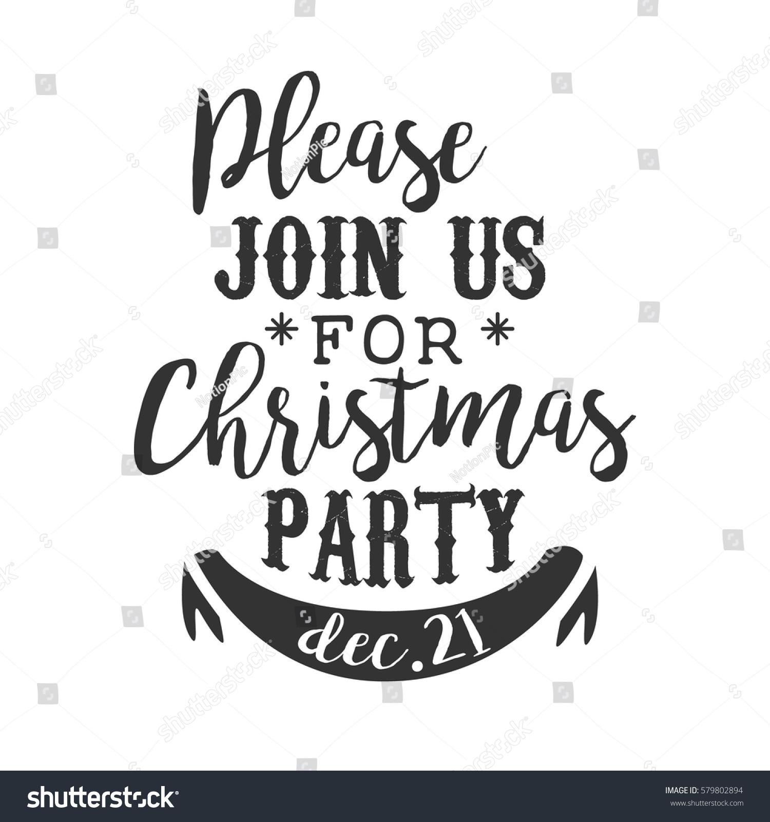 christmas party black white invitation card stock vector