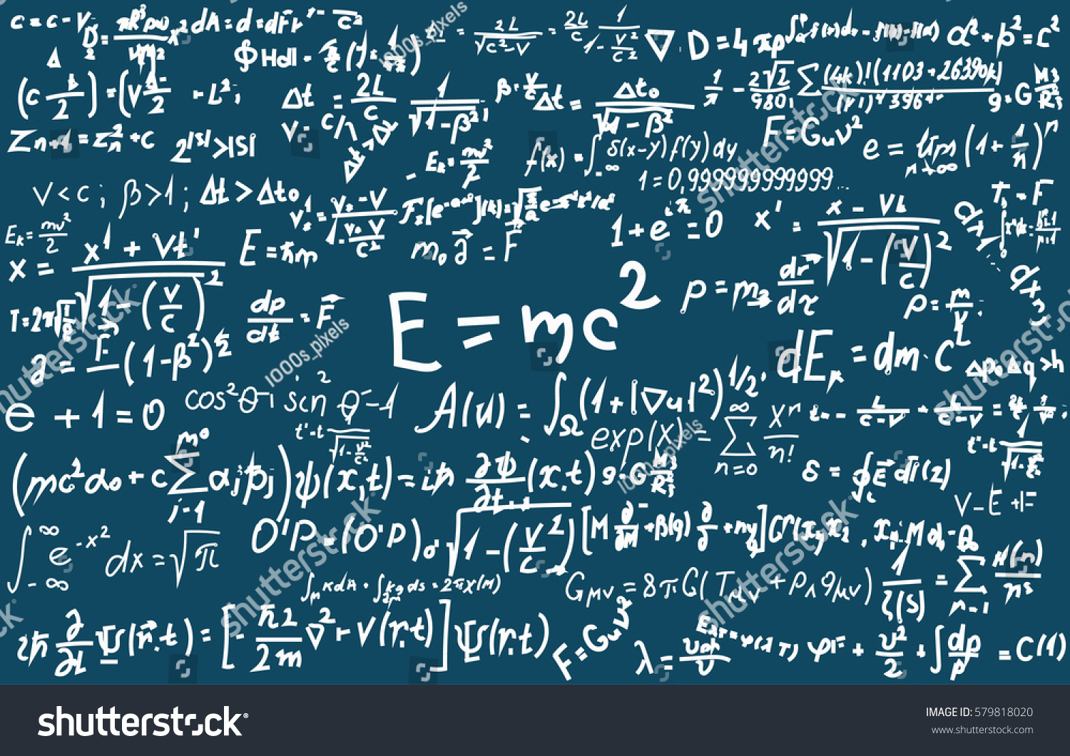 Blackboard Inscribed Scientific Formulas Calculations Physics Stock ...