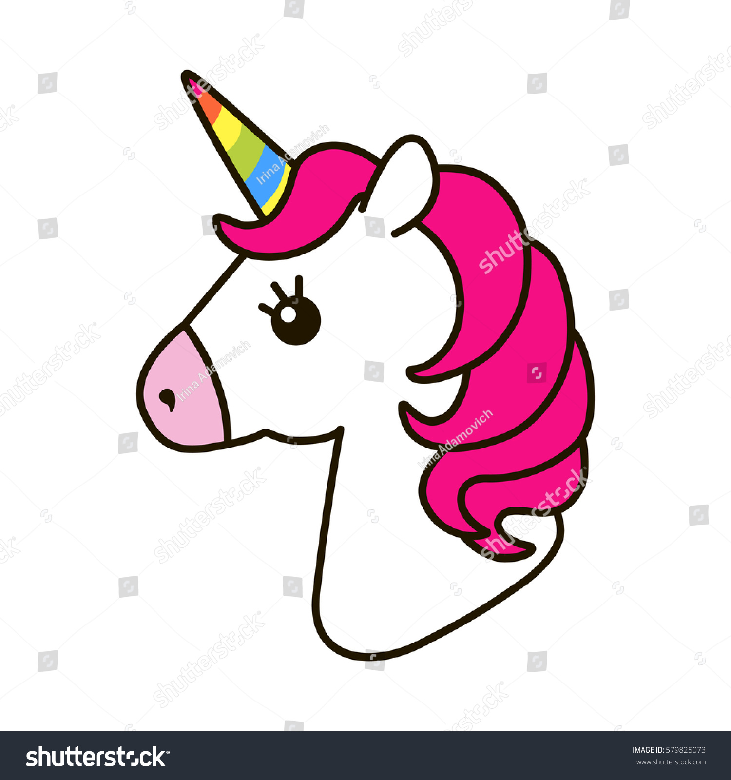 Unicorn Vector Icon Isolated On White 스톡 벡터 579825073