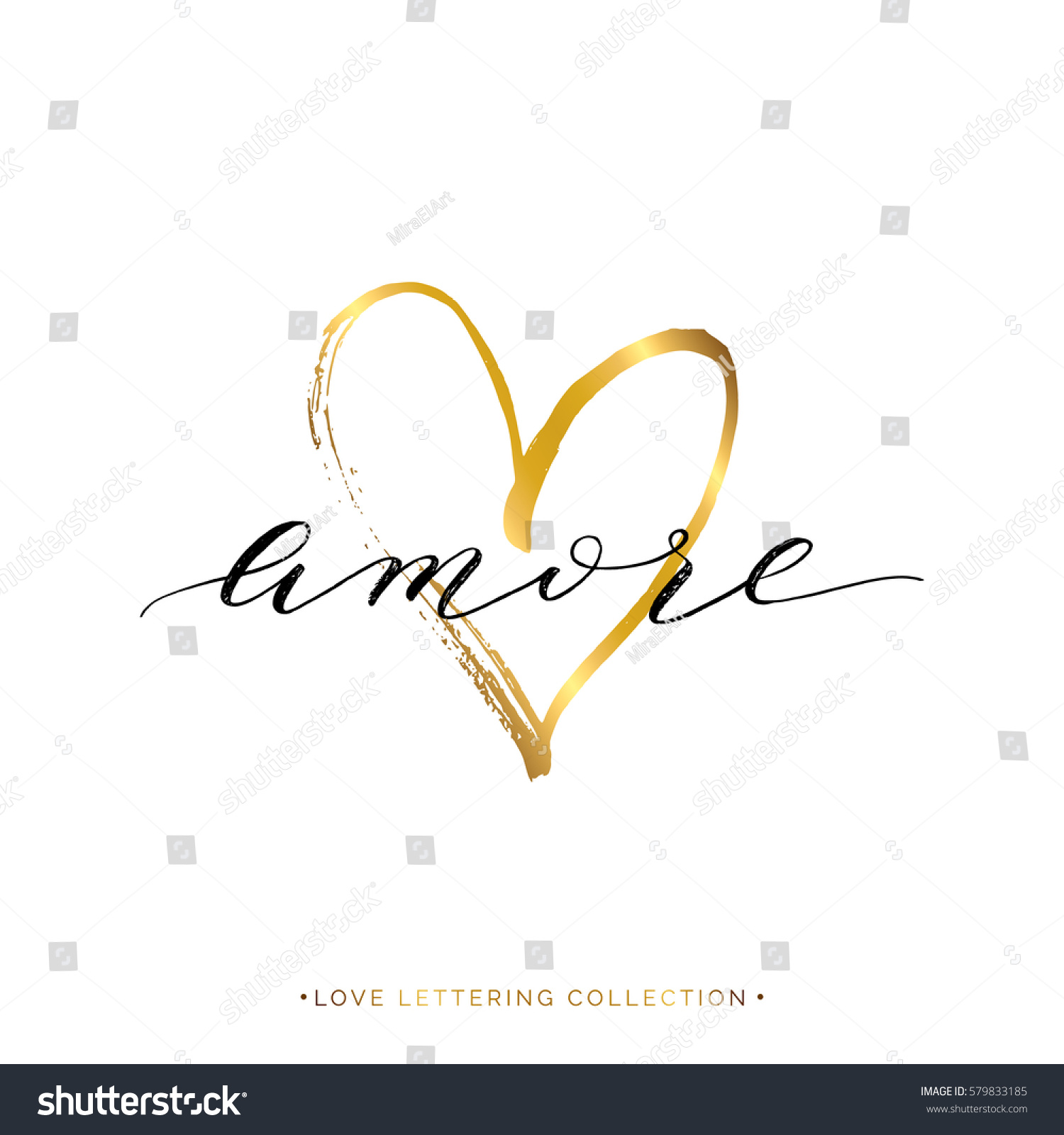 Amore Text Gold Heart Isolated On Stock Vector 579833185