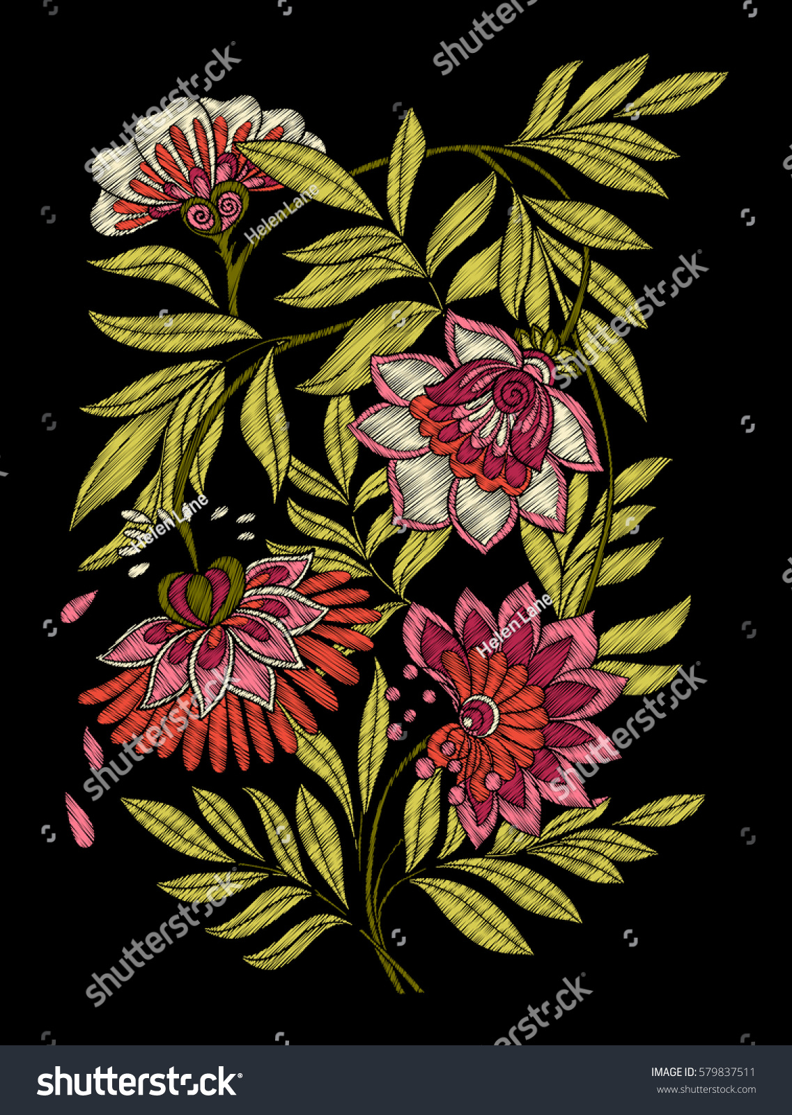 Embroidery embroidered design elements flowers leaves