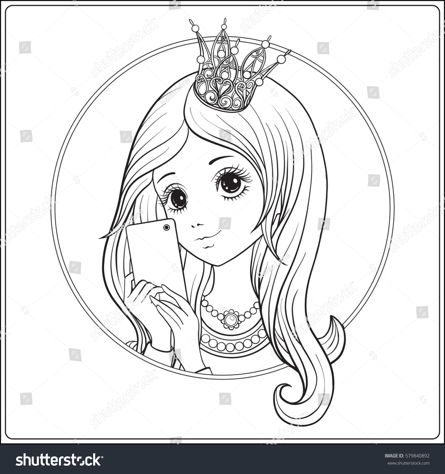 Coloring book princess crowns - Young Nice Girl With Long Hear And Princess Crown On Her Head Make Selfie Or Photograph