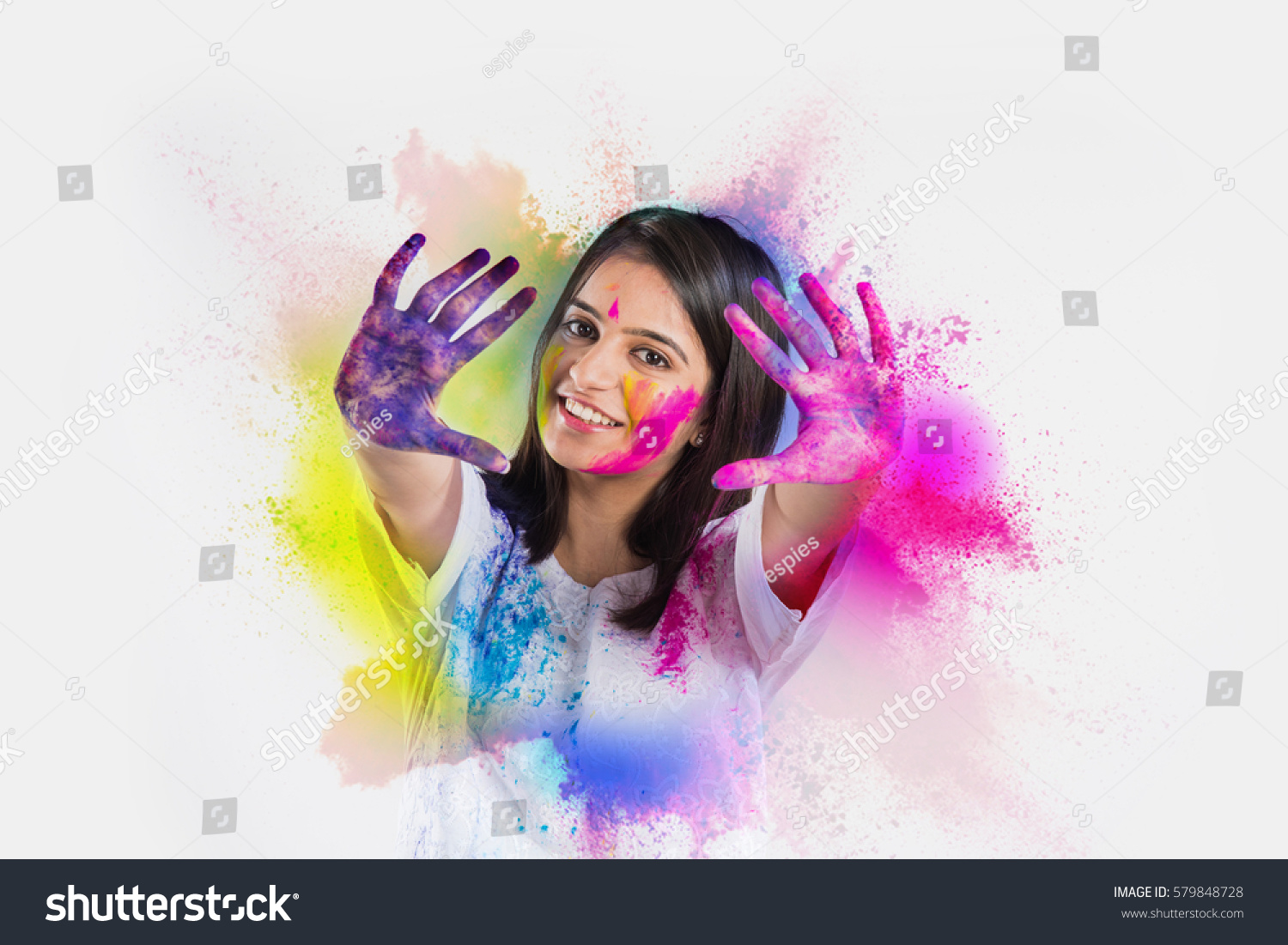Indian Young Girl Showing Colourful Palm Stock Photo -9487
