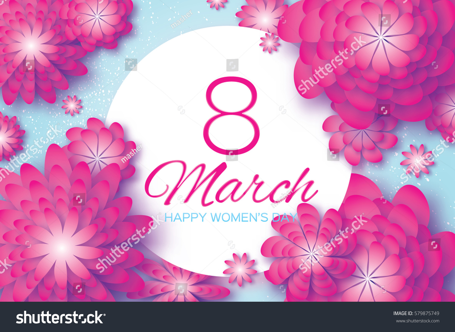 Pink Paper Cut Flower 8 March Womens Day Greeting Card Origami