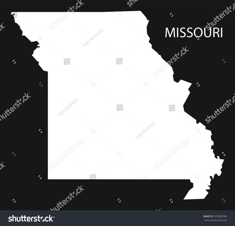 Missouri Usa Map Black Inverted Silhouette Stock Vector - Missouri usa map