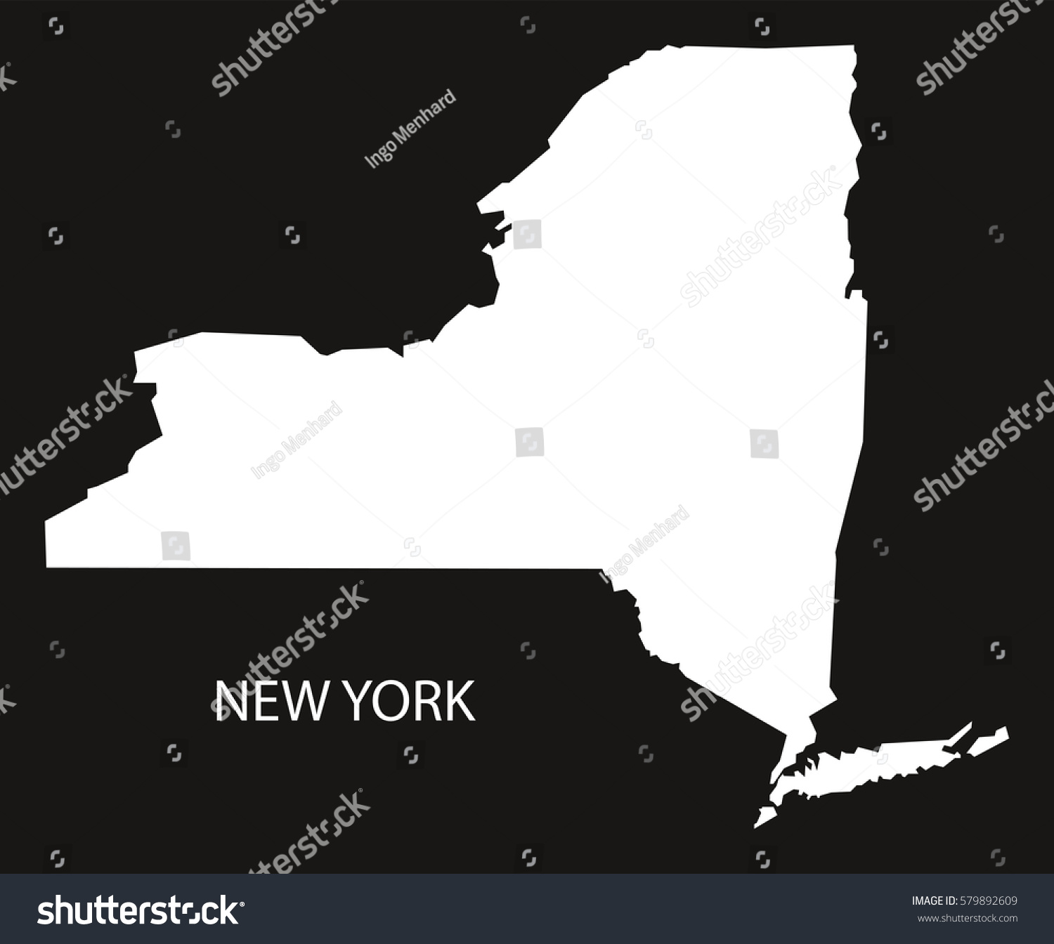New York Usa Map Black Inverted Stock Vector Shutterstock - Usa map new york