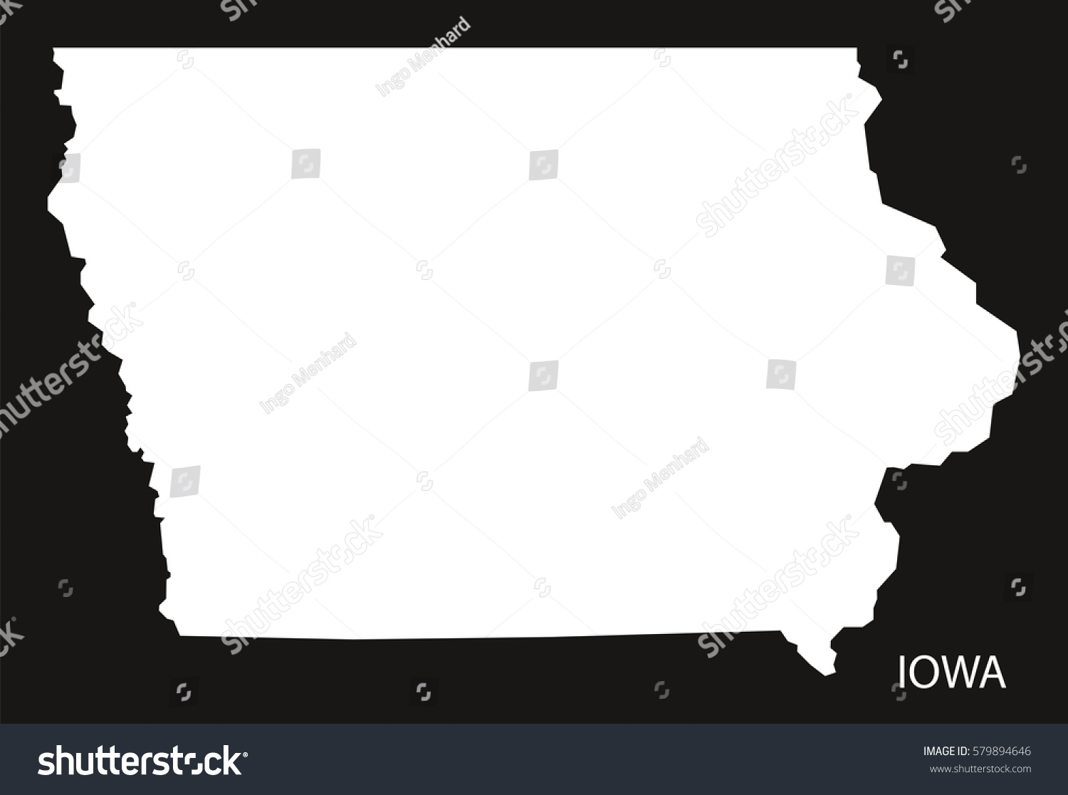 Iowa Usa Map Black Inverted Silhouette Stock Vector - Usa map black