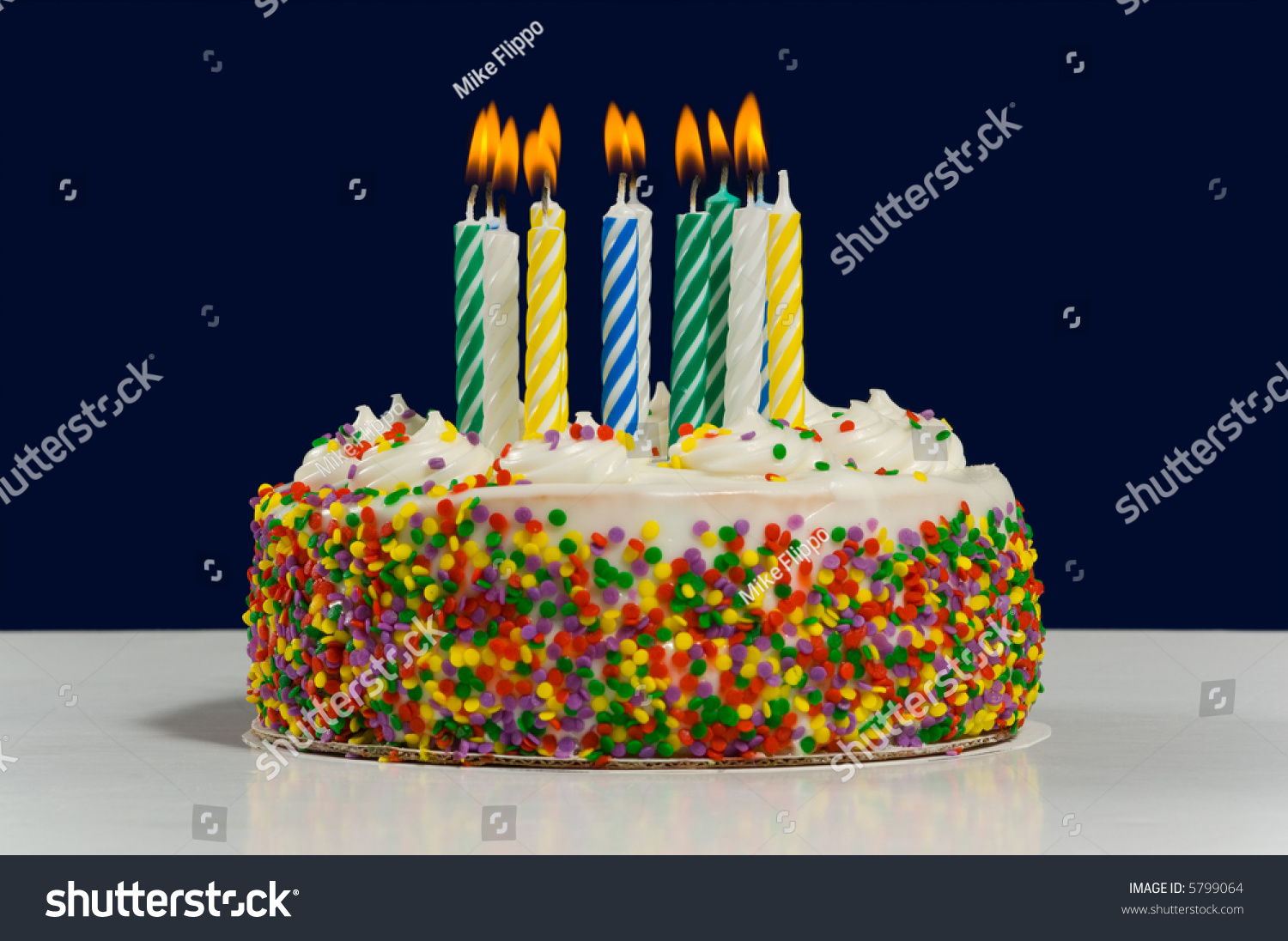 White Birthday Cake Candy Sprinkles Multicolored Stock