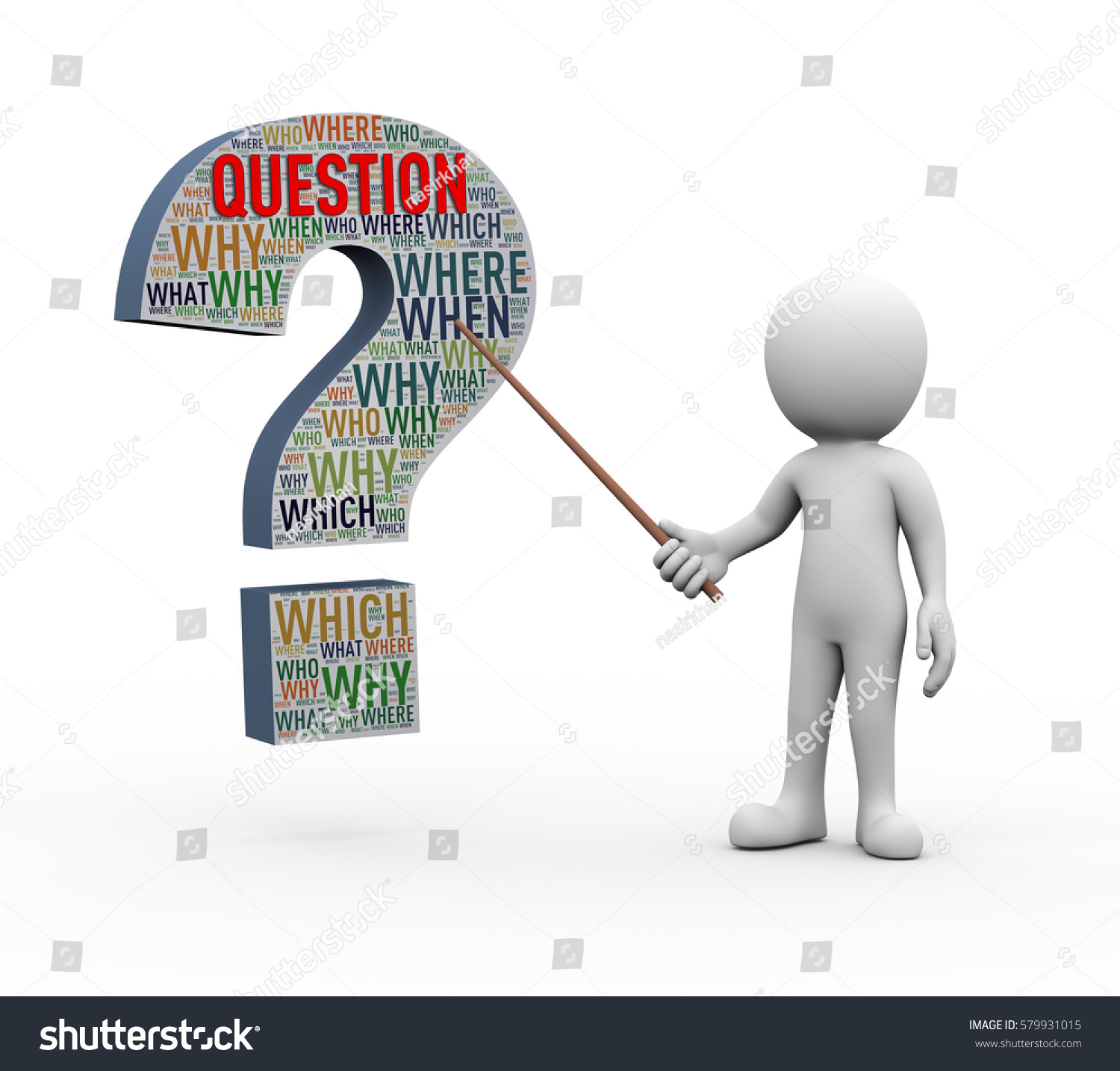 3d person with magnifying glass and question mark stock images image - 3d Rendering Of Explaining Man Pointing With Stick Presentation Of Question Mark Sign Symbol Shape Wordcloud