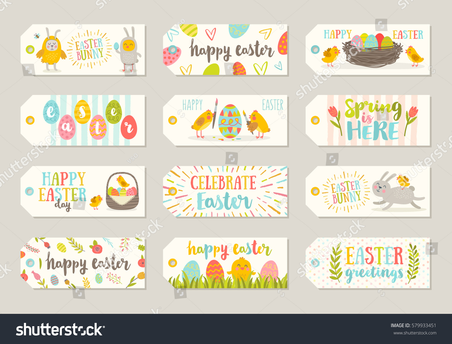 Set easter gift tags labels cute stock vector 579933451 shutterstock set of easter gift tags and labels with cute cartoon characters and type design easter negle Image collections