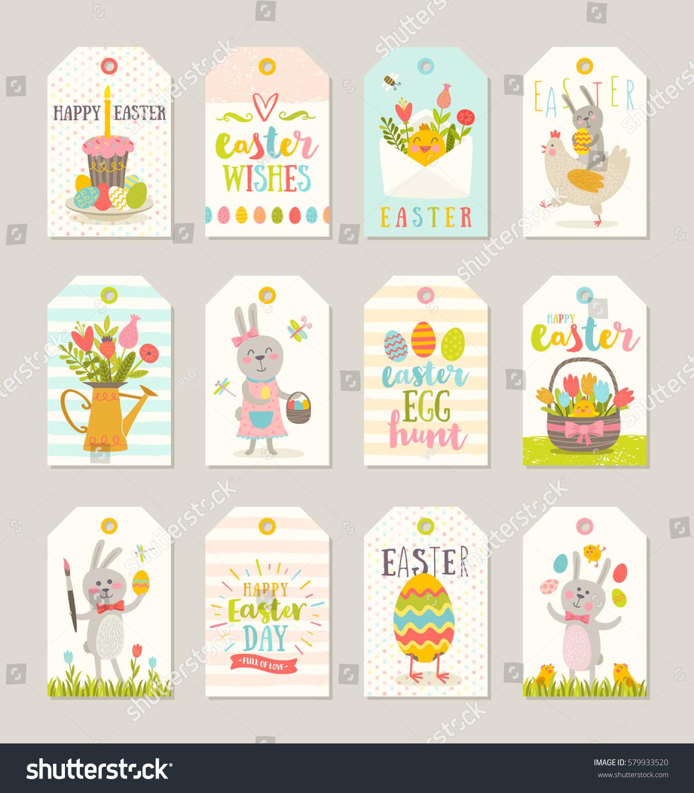 Set easter gift tags labels cute stock vector 579933520 shutterstock negle Choice Image