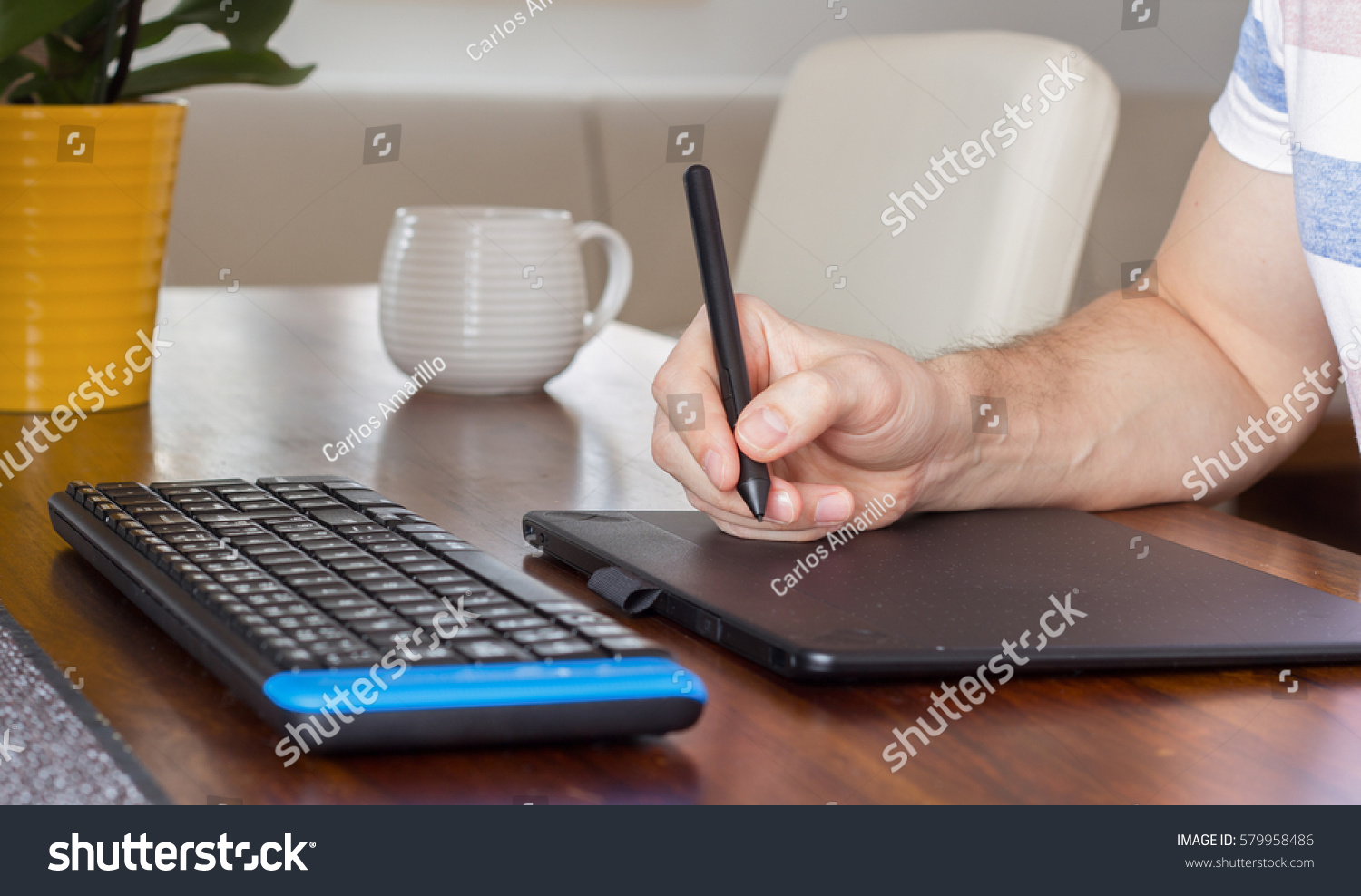 Hand Using Stylus Pen Graphic Tablet Stock Photo 579958486