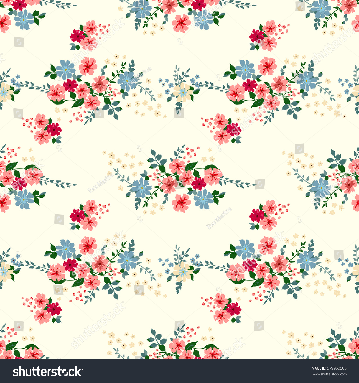 Book Cover Design With Flowers ~ Seamless cute pattern small flowers floral stock vector