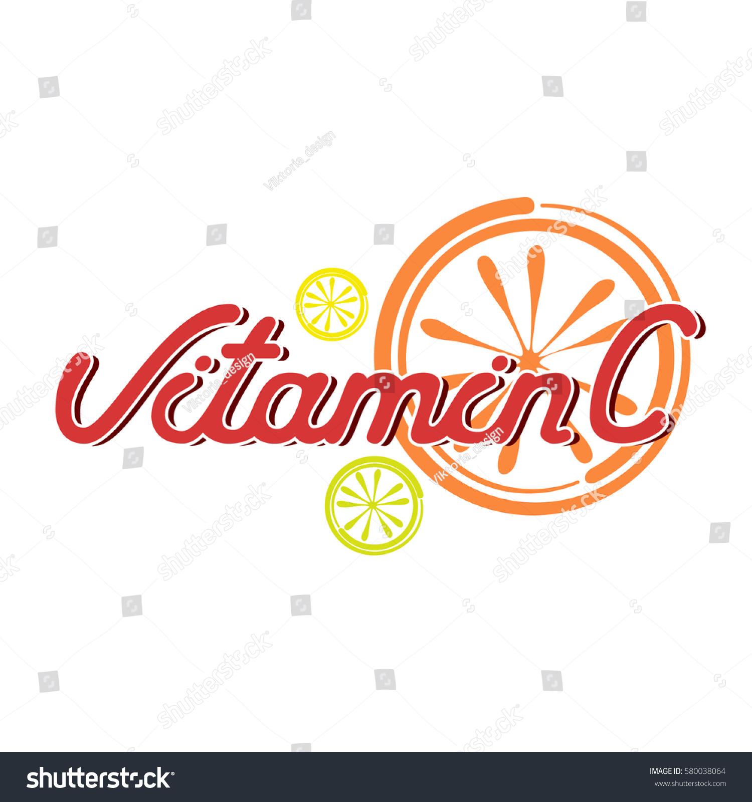 Vector Symbol Vitamin C Lettering Text Stock Vector Royalty Free