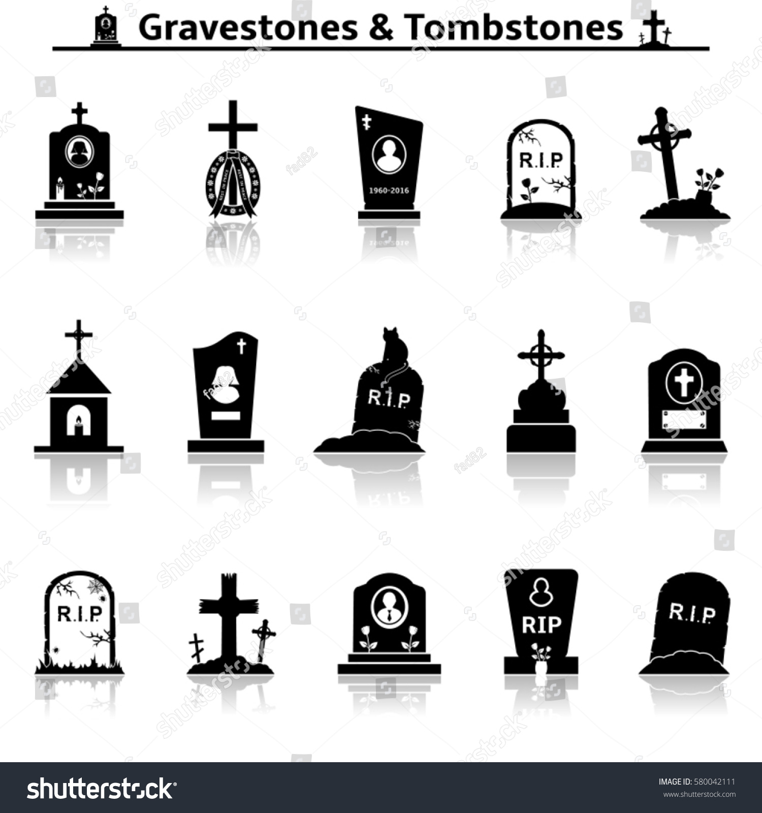 Gravestones Tombstones Icons Stock Vector Royalty Free 580042111