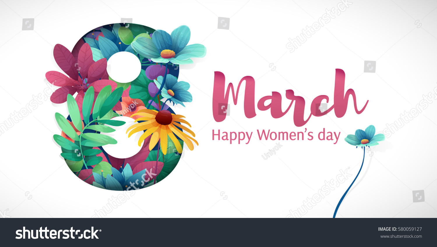 Banner for the International Women's Day. Flyer for March 8 with the decor of flowers. Invitations with the number 8 in the style of cut paper with a pattern of spring plants, leaves and flowers #580059127