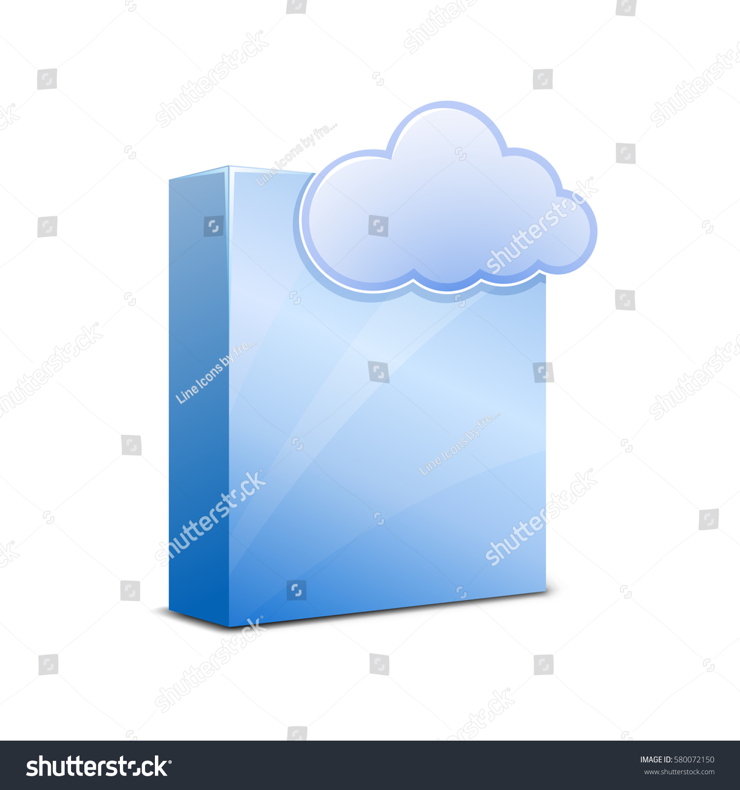Blue Glossy Software Package Box Cloud Stock Vector 580072150