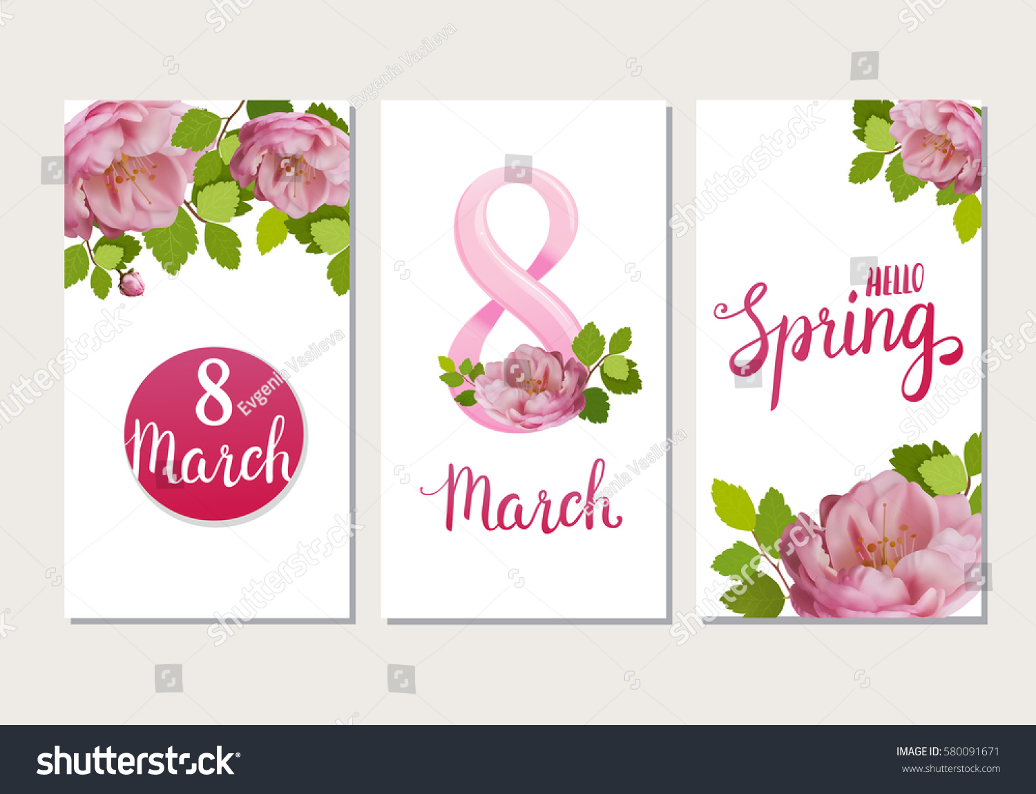 Beautiful Greeting Cards Holiday March 8 Stock Vector Royalty Free