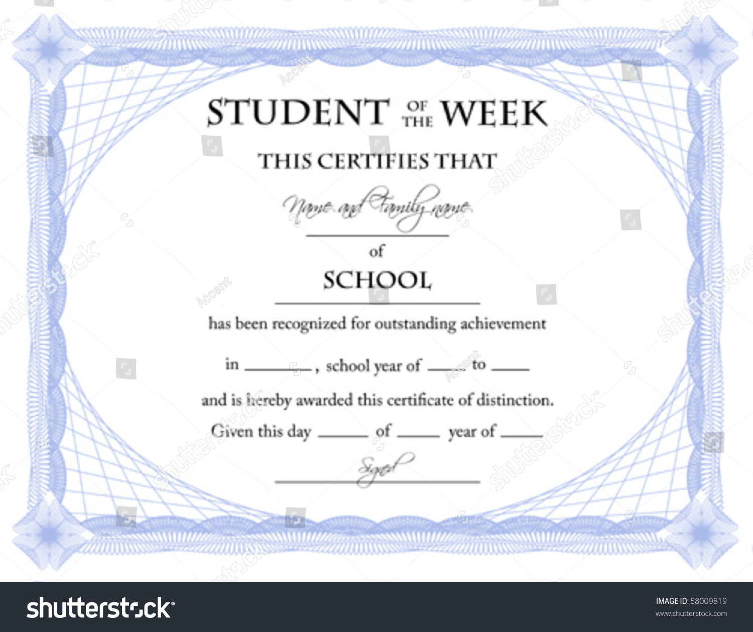 Student week certificate vector stock vector 58009819 shutterstock student of the week certificate vector xflitez Choice Image