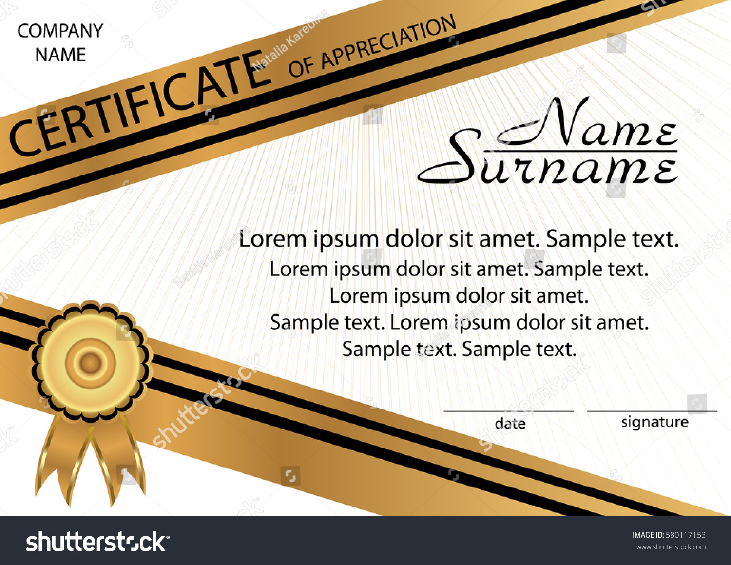 Certificate of appreciation examples action wedding invitation certificates of appreciation wording samples individual action stock vector gold and black template certificate of appreciation yadclub Choice Image