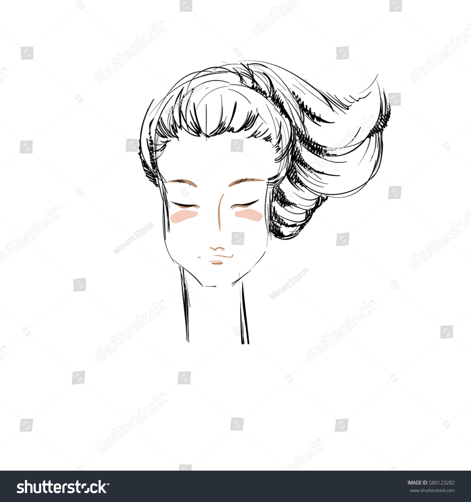 Uncategorized How To Draw A Pony Tail sketched cartoon portrait beautiful girl ponytail stock vector the of a with hairstyle monochrome sketch of