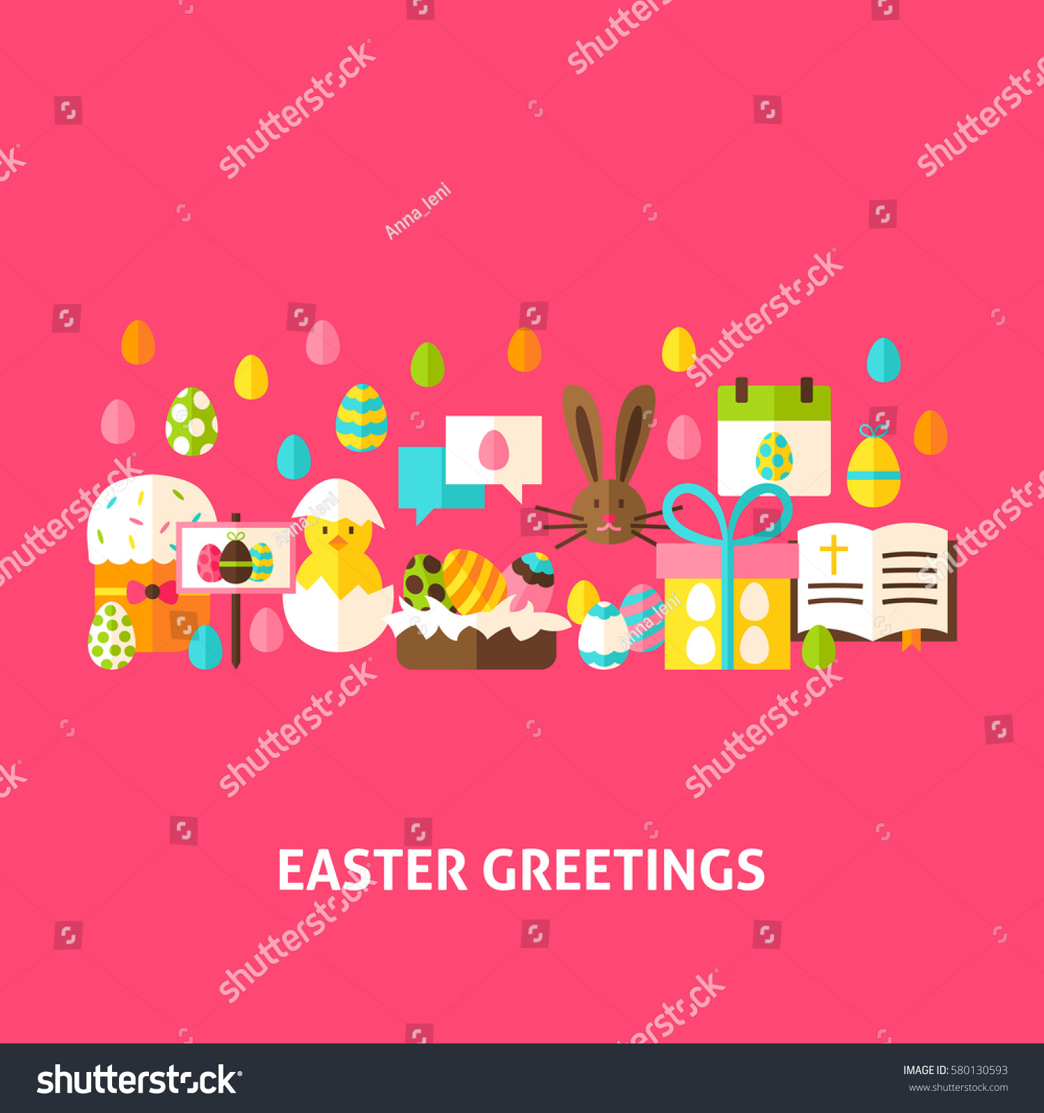 Easter greeting card flat design vector stock vector royalty free easter greeting card flat design vector illustration spring holiday poster m4hsunfo