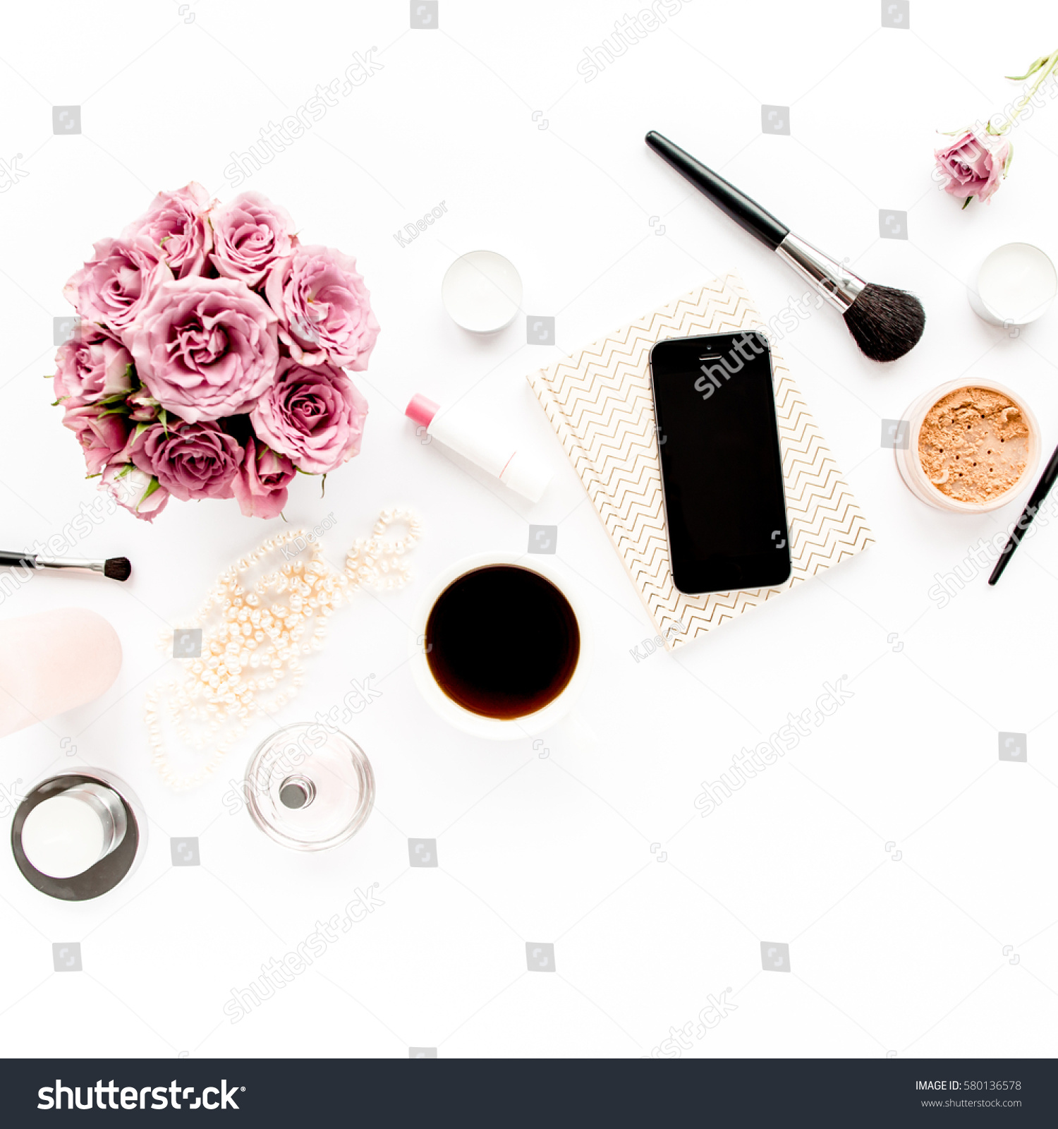 flower mother background on view roses desk frame depositphotos feminine with petals top pink women wooden workspace photo stock white and lay flat day s